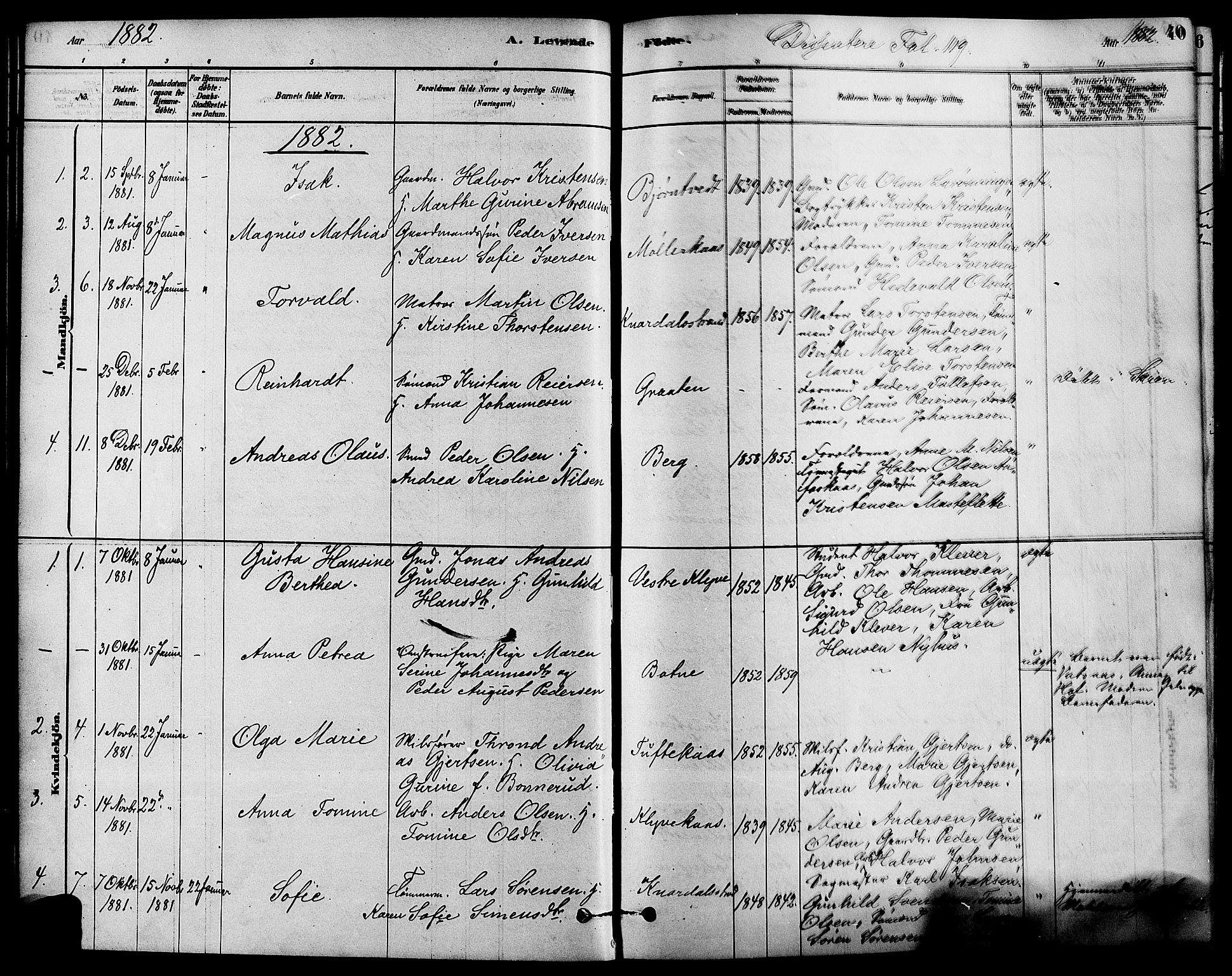 SAKO, Solum kirkebøker, F/Fa/L0009: Ministerialbok nr. I 9, 1877-1887, s. 40