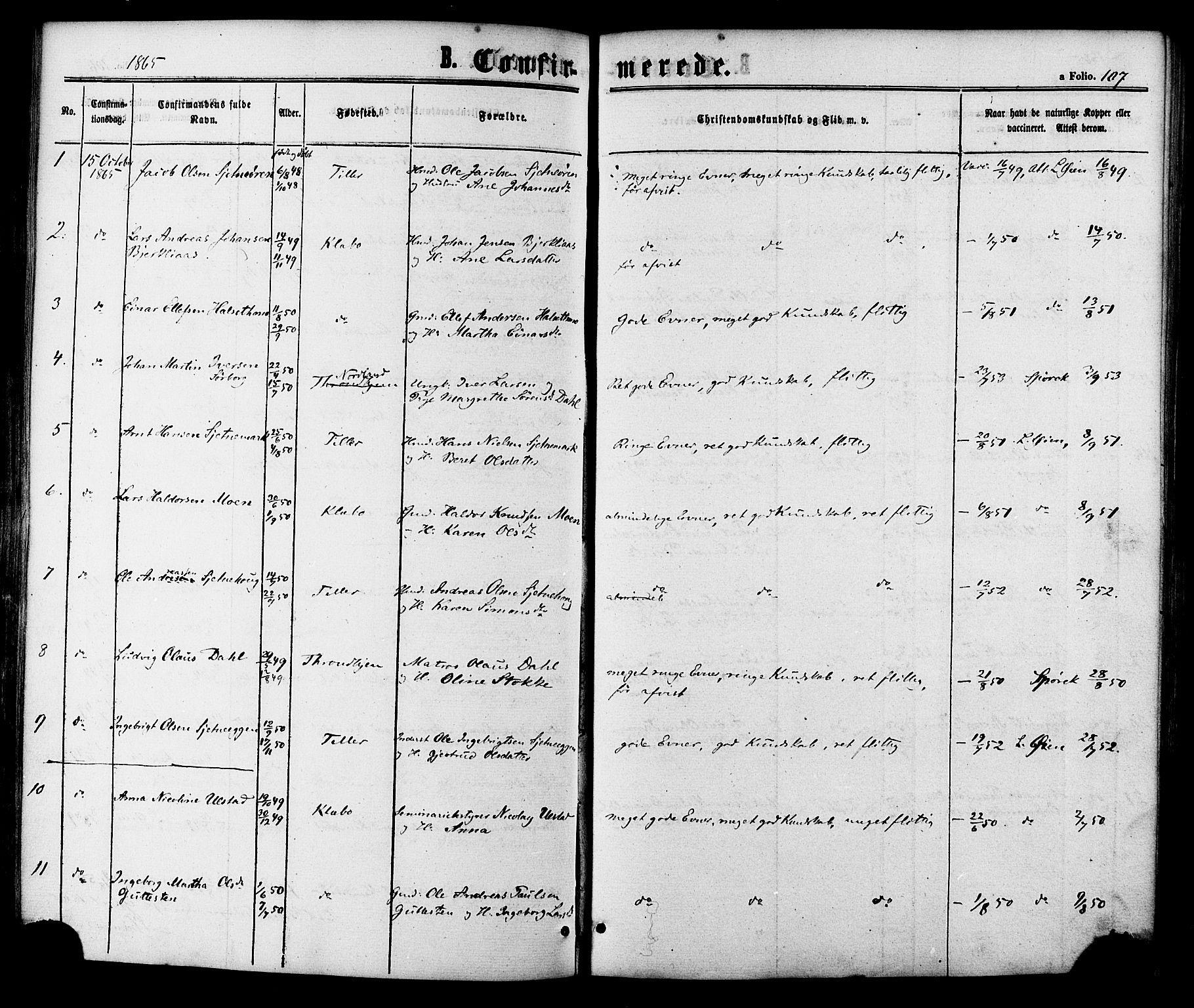 SAT, Ministerialprotokoller, klokkerbøker og fødselsregistre - Sør-Trøndelag, 618/L0442: Ministerialbok nr. 618A06 /1, 1863-1879, s. 107