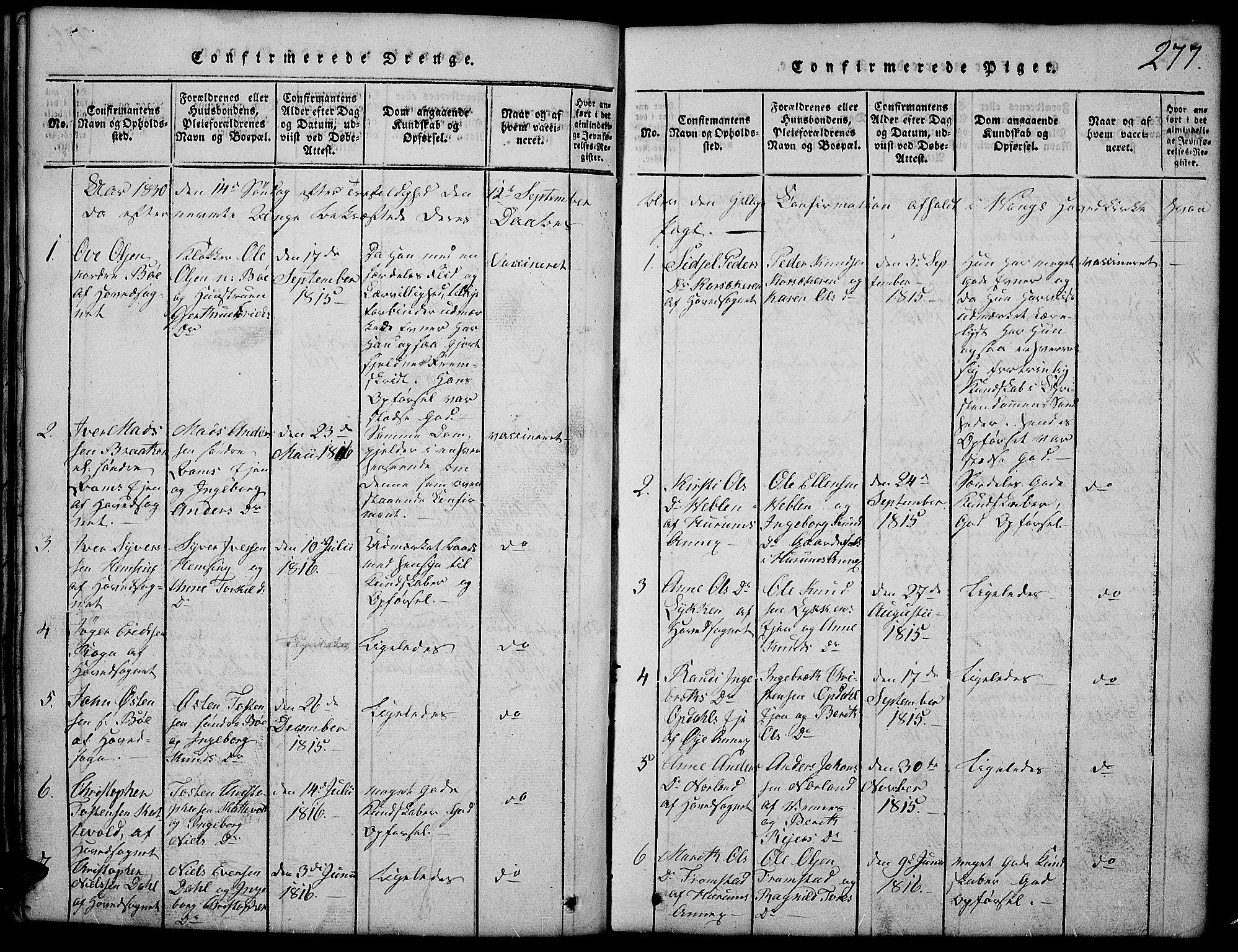 SAH, Vang prestekontor, Valdres, Klokkerbok nr. 2, 1814-1889, s. 277