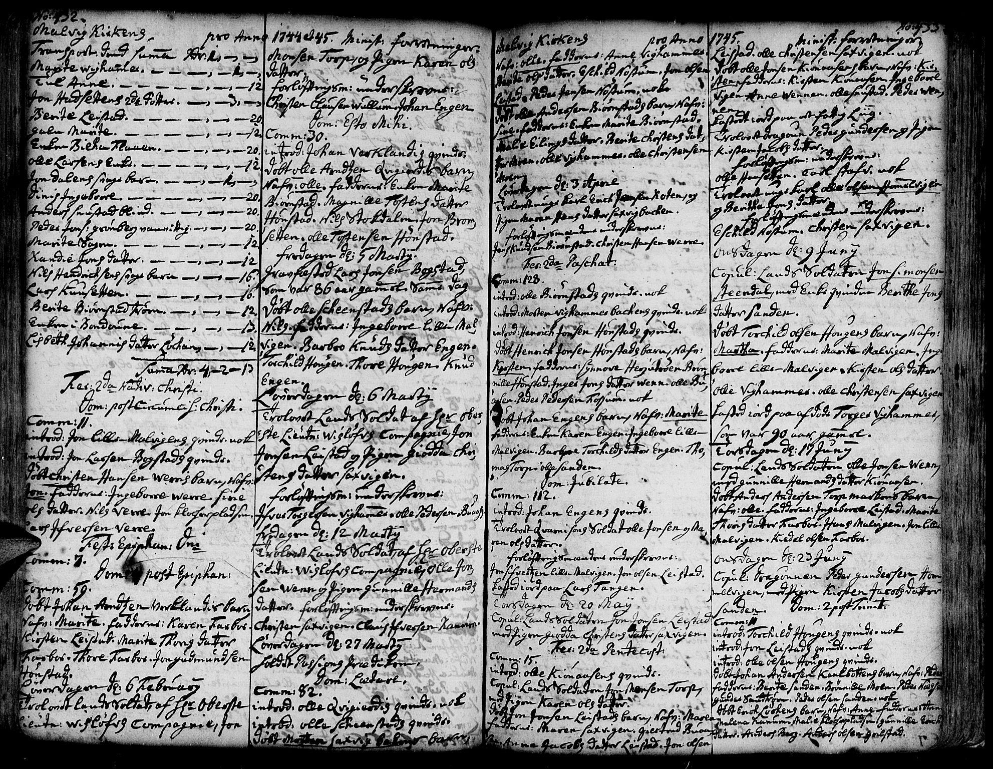 SAT, Ministerialprotokoller, klokkerbøker og fødselsregistre - Sør-Trøndelag, 606/L0277: Ministerialbok nr. 606A01 /3, 1727-1780, s. 432-433