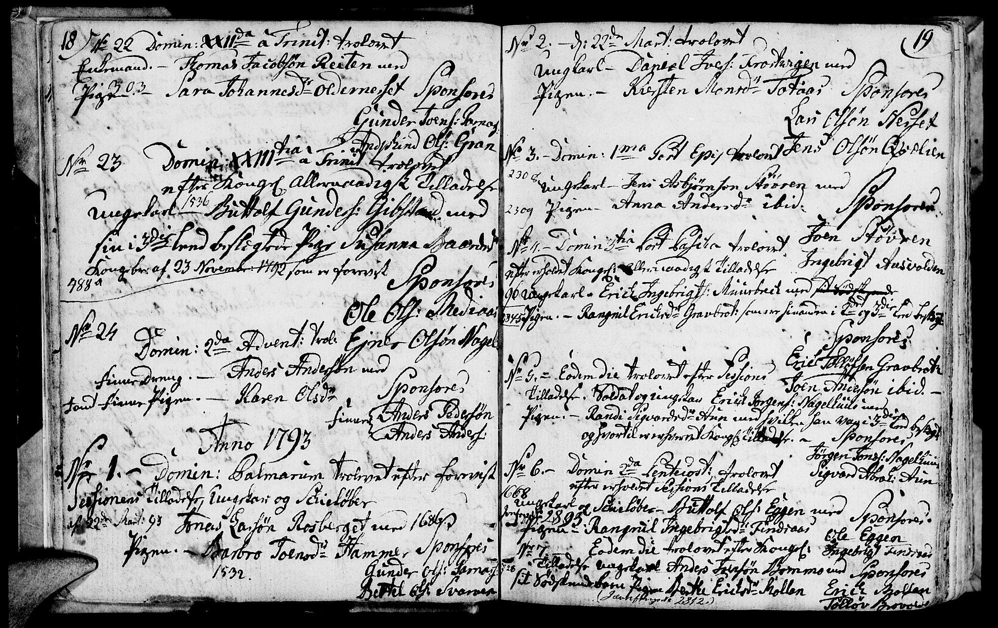 SAT, Ministerialprotokoller, klokkerbøker og fødselsregistre - Nord-Trøndelag, 749/L0468: Ministerialbok nr. 749A02, 1787-1817, s. 18-19