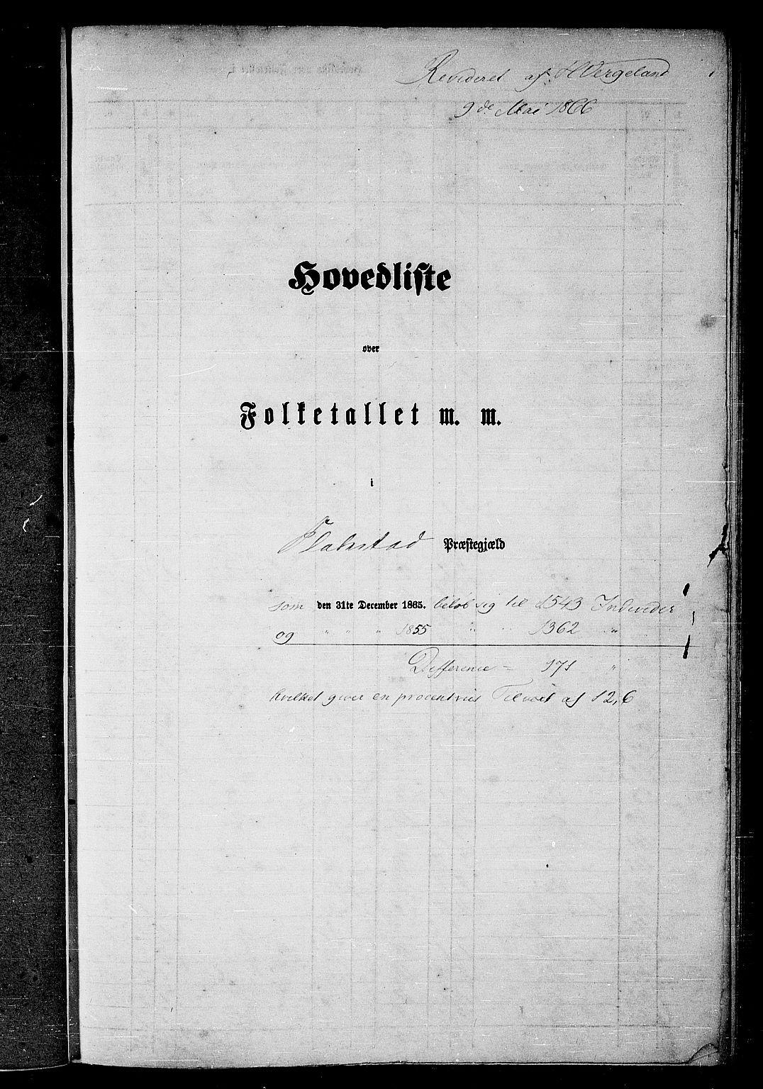 RA, Folketelling 1865 for 1859P Flakstad prestegjeld, 1865, s. 1