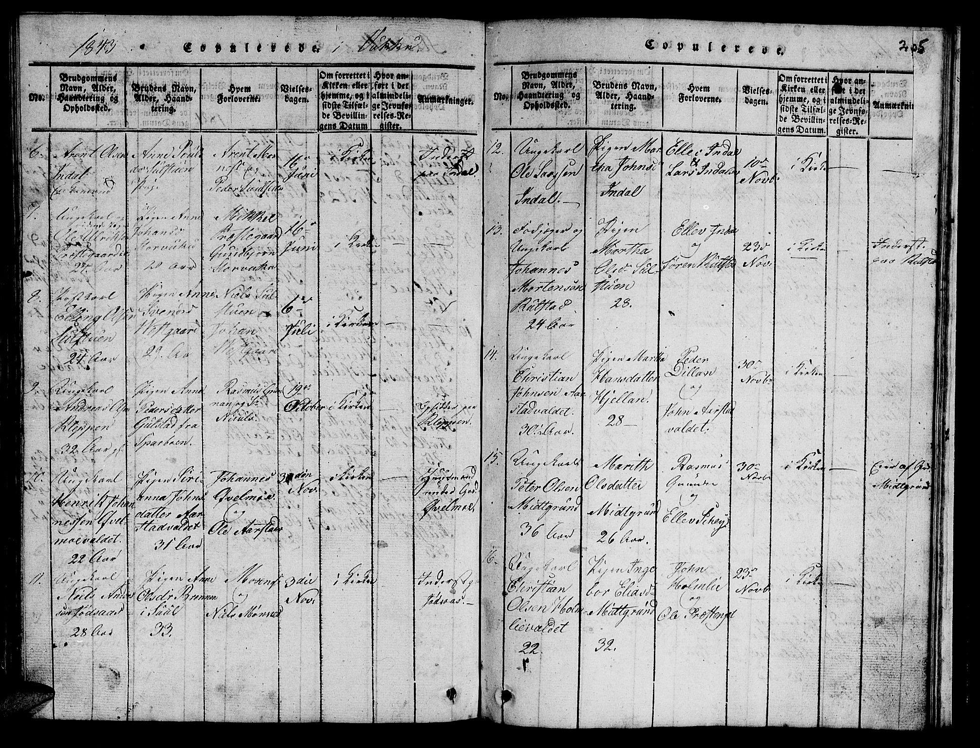 SAT, Ministerialprotokoller, klokkerbøker og fødselsregistre - Nord-Trøndelag, 723/L0251: Klokkerbok nr. 723C01 /2, 1843-1845, s. 205