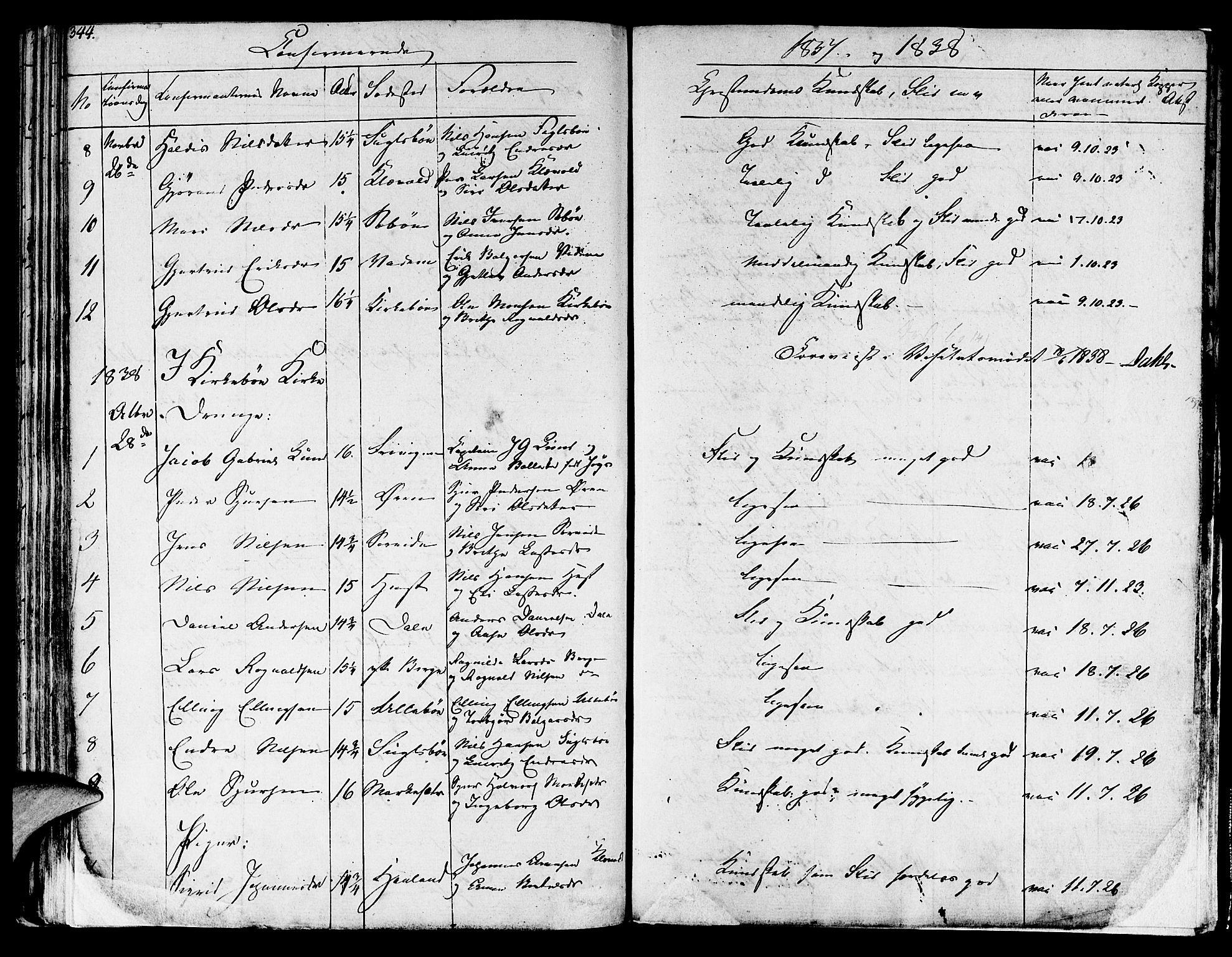 SAB, Lavik sokneprestembete, Ministerialbok nr. A 2I, 1821-1842, s. 344