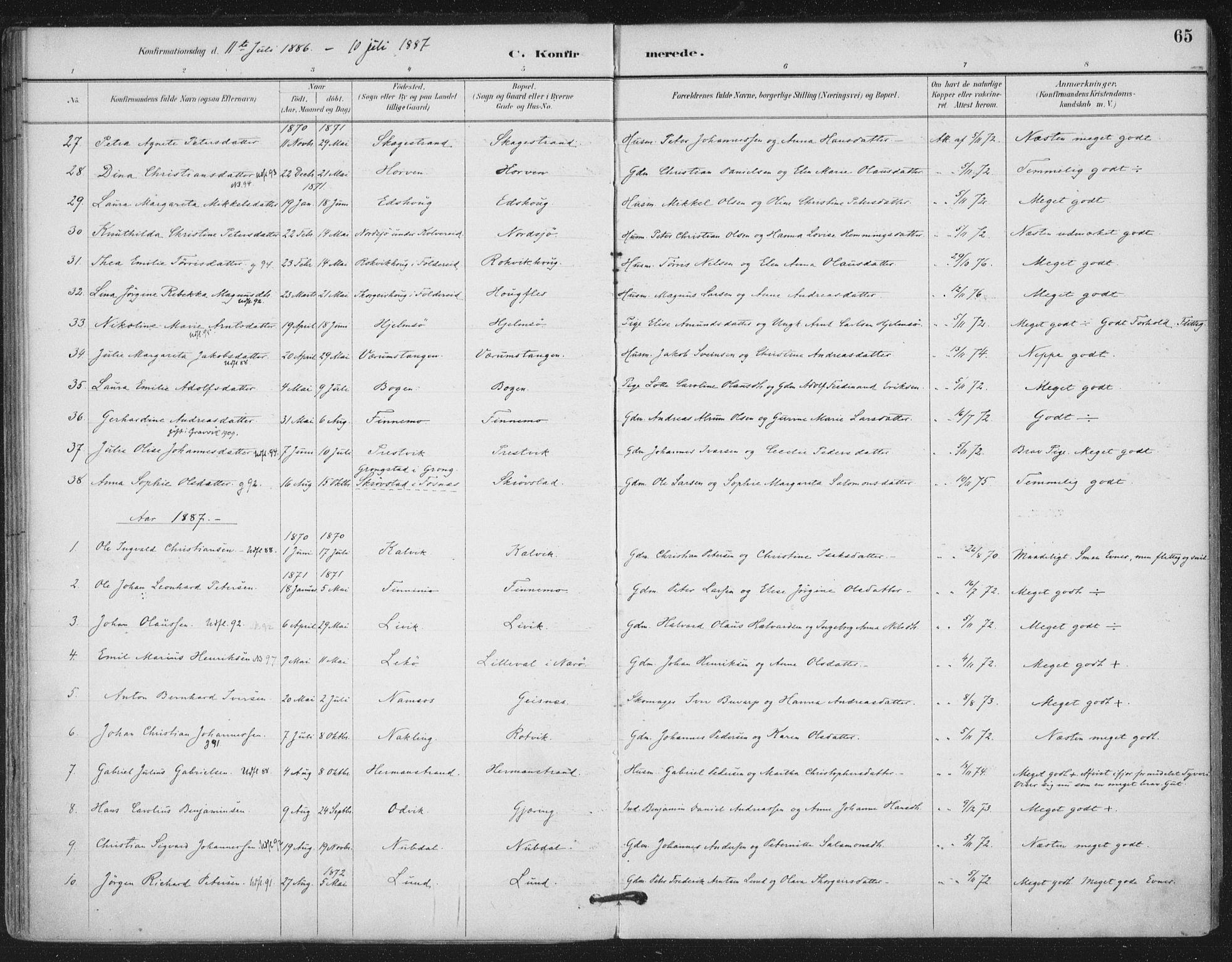 SAT, Ministerialprotokoller, klokkerbøker og fødselsregistre - Nord-Trøndelag, 780/L0644: Ministerialbok nr. 780A08, 1886-1903, s. 65