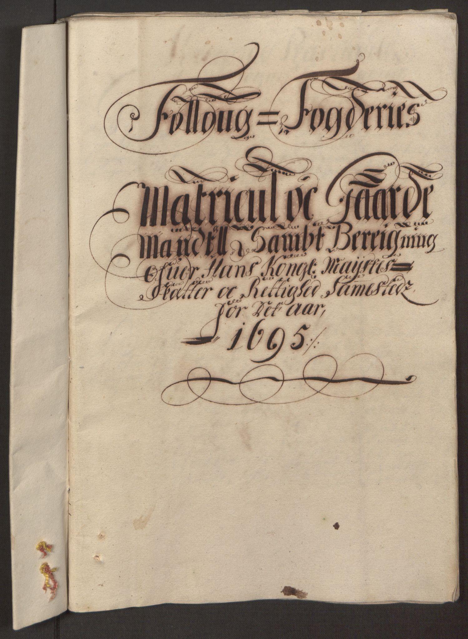 RA, Rentekammeret inntil 1814, Reviderte regnskaper, Fogderegnskap, R10/L0439: Fogderegnskap Aker og Follo, 1695, s. 92