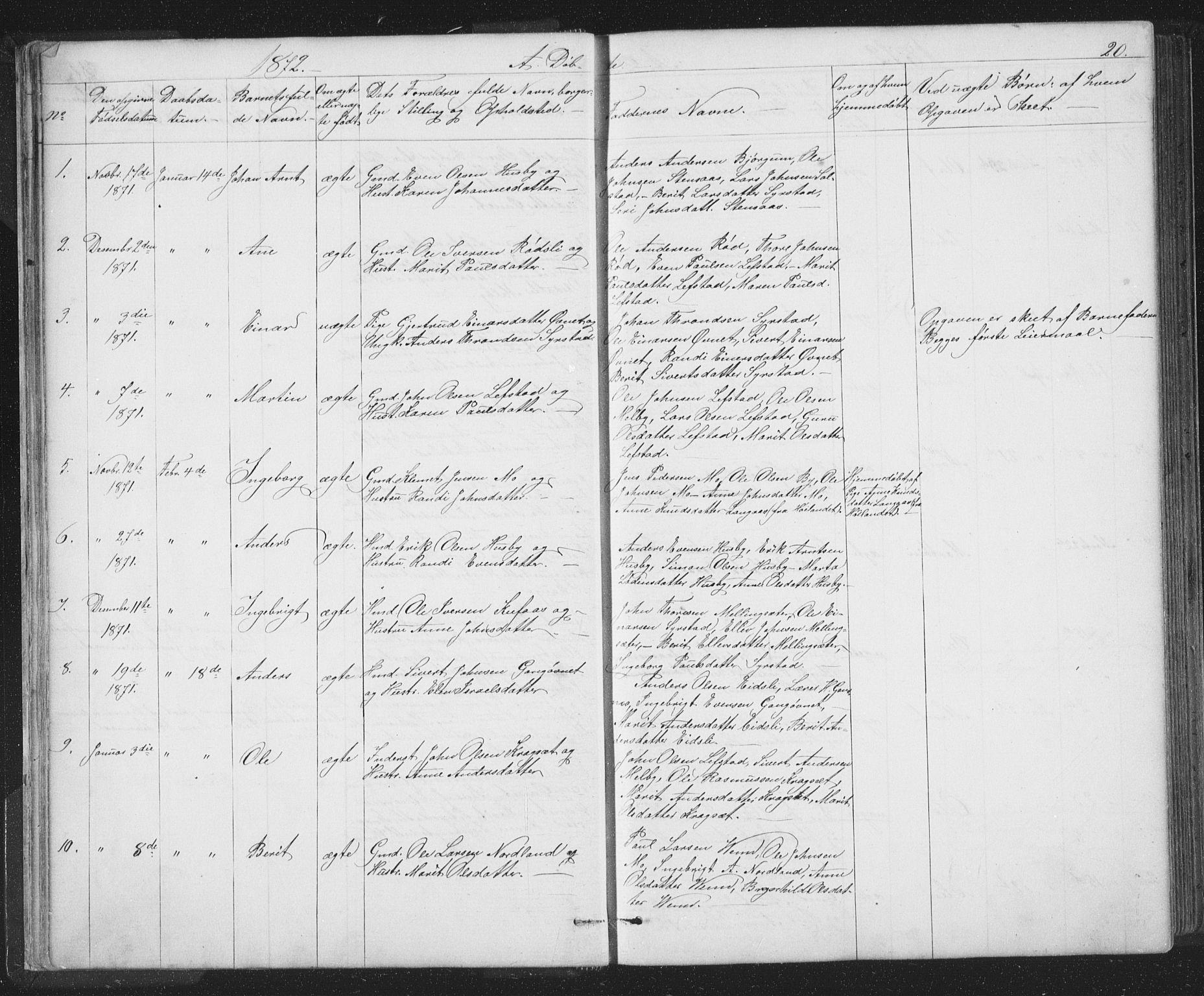 SAT, Ministerialprotokoller, klokkerbøker og fødselsregistre - Sør-Trøndelag, 667/L0798: Klokkerbok nr. 667C03, 1867-1929, s. 20
