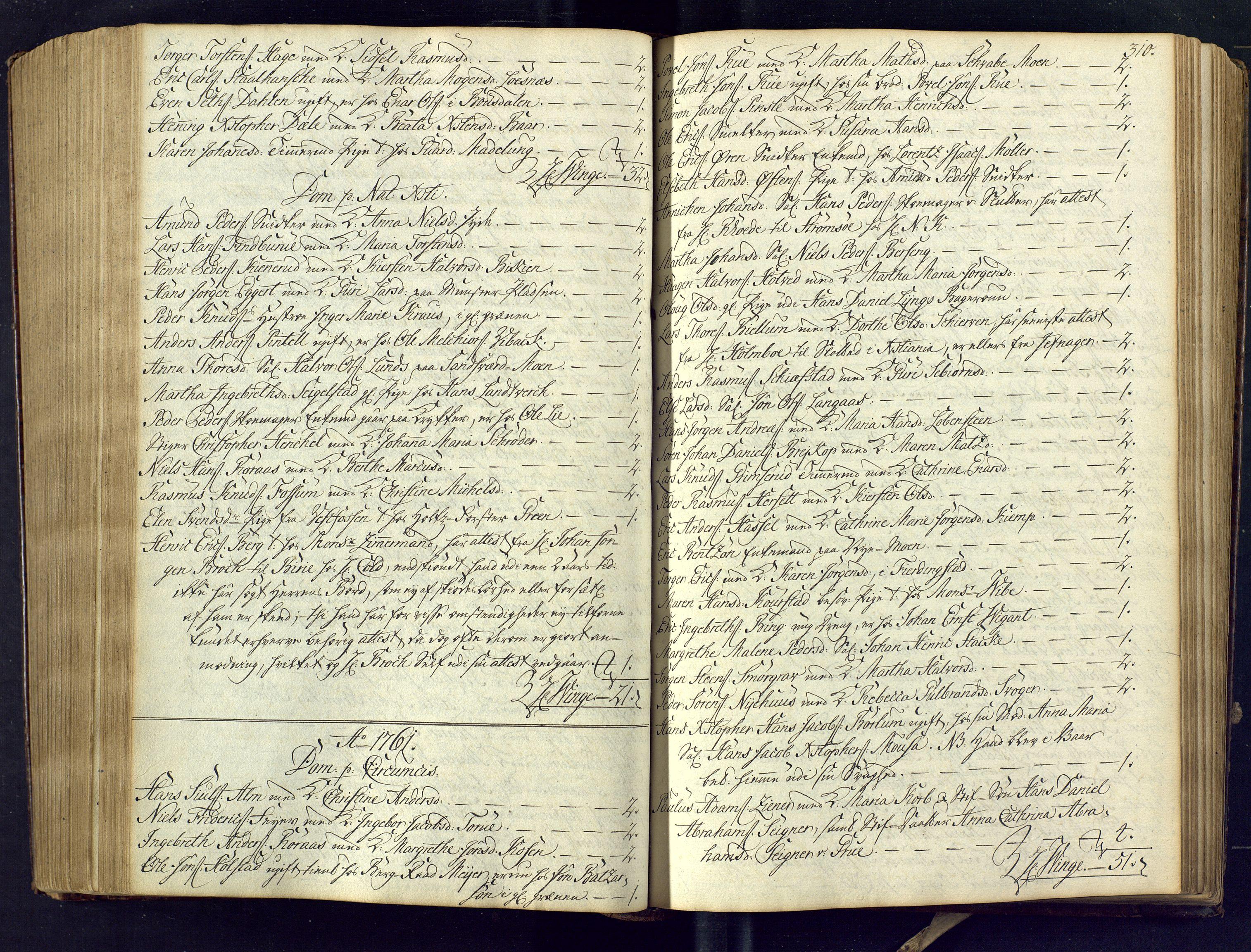 SAKO, Kongsberg kirkebøker, M/Ma/L0005: Kommunikantprotokoll nr. 5, 1755-1761, s. 310