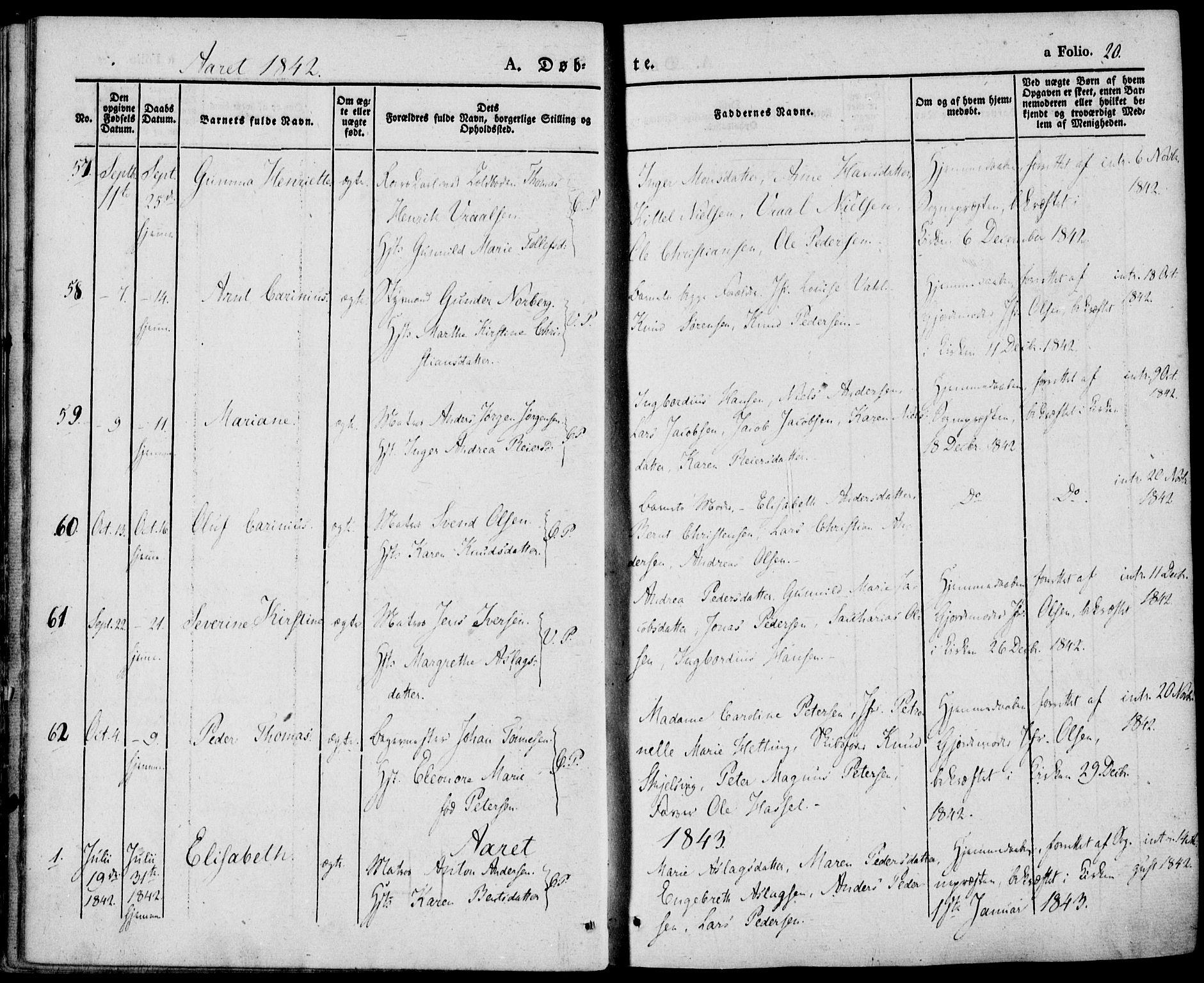 SAKO, Porsgrunn kirkebøker , F/Fa/L0006: Ministerialbok nr. 6, 1841-1857, s. 20