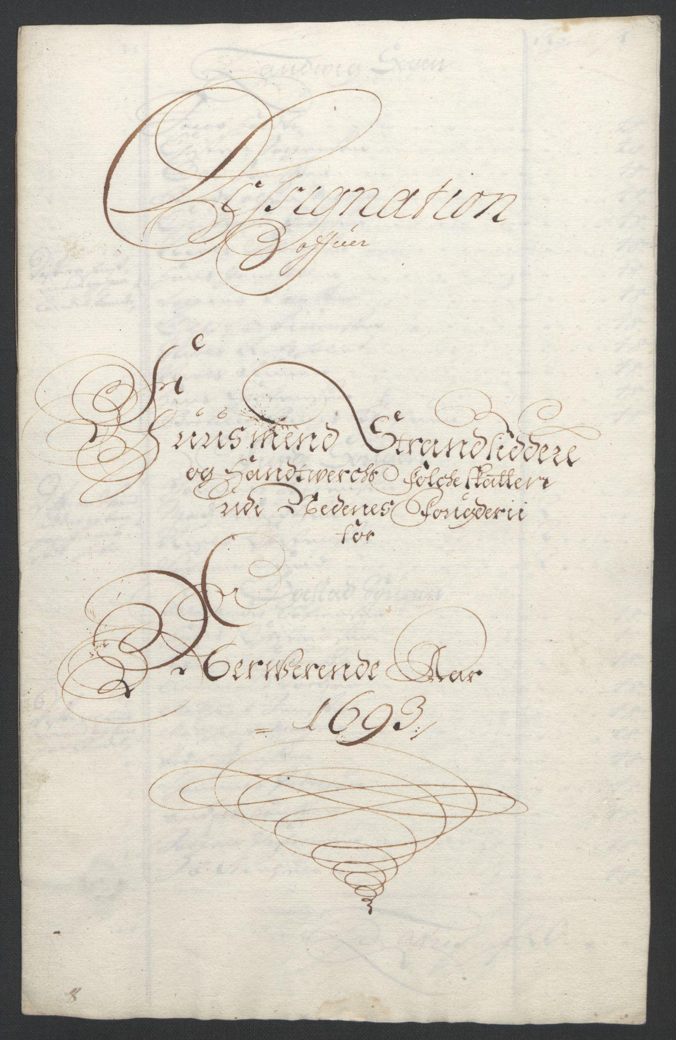 RA, Rentekammeret inntil 1814, Reviderte regnskaper, Fogderegnskap, R39/L2312: Fogderegnskap Nedenes, 1693-1695, s. 33