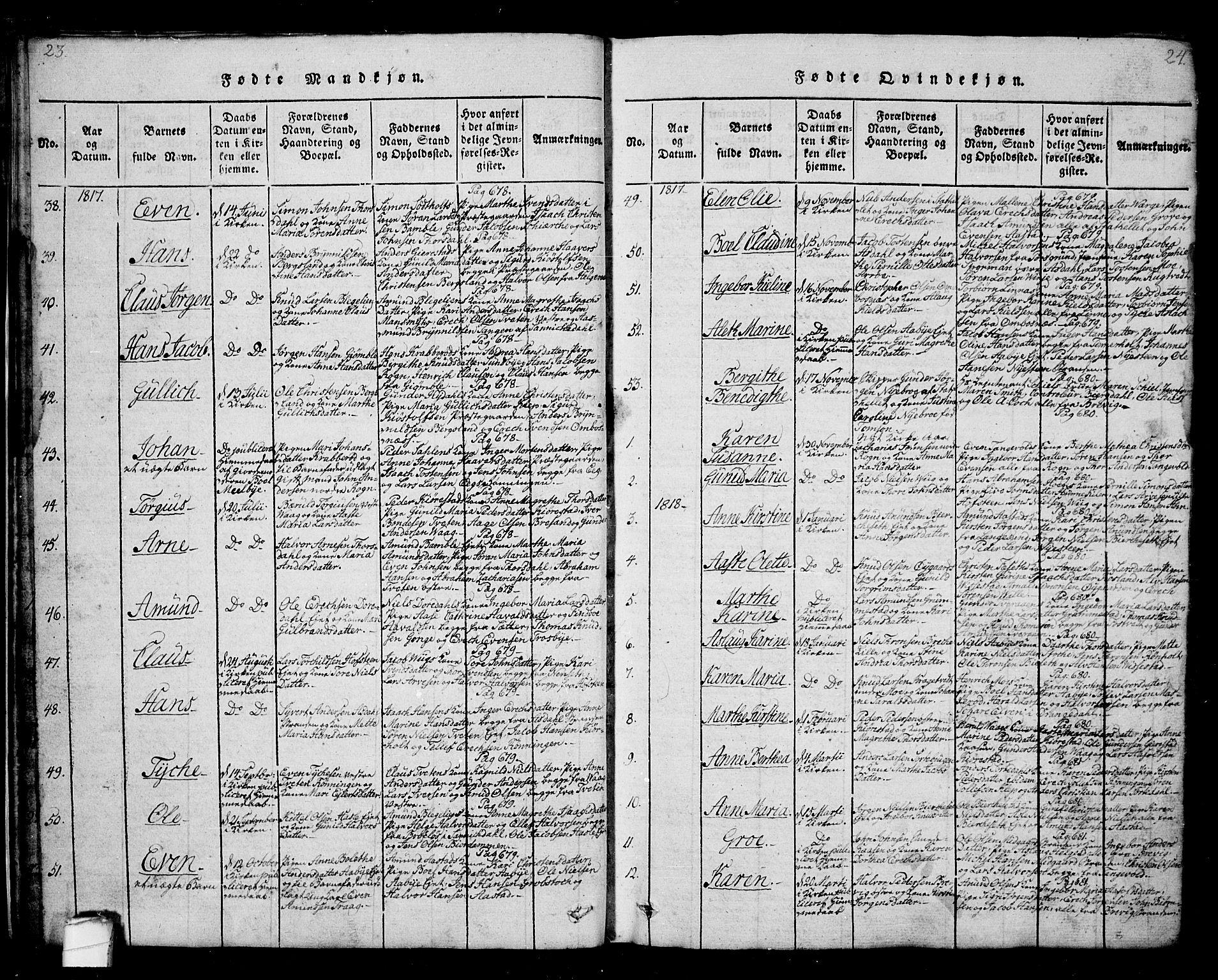 SAKO, Bamble kirkebøker, G/Ga/L0005: Klokkerbok nr. I 5, 1814-1855, s. 23-24