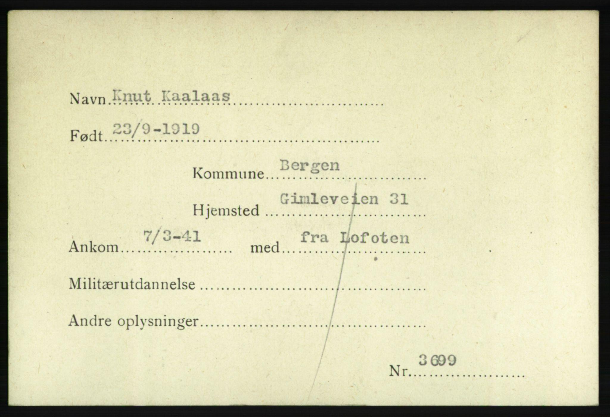 NHM, Forsvarets Overkommando. 2. kontor. Arkiv 8.1. Mottakersentralen FDE og FO.II, P/Pa/L0011: Kortsamling, 1940-1945, s. 2