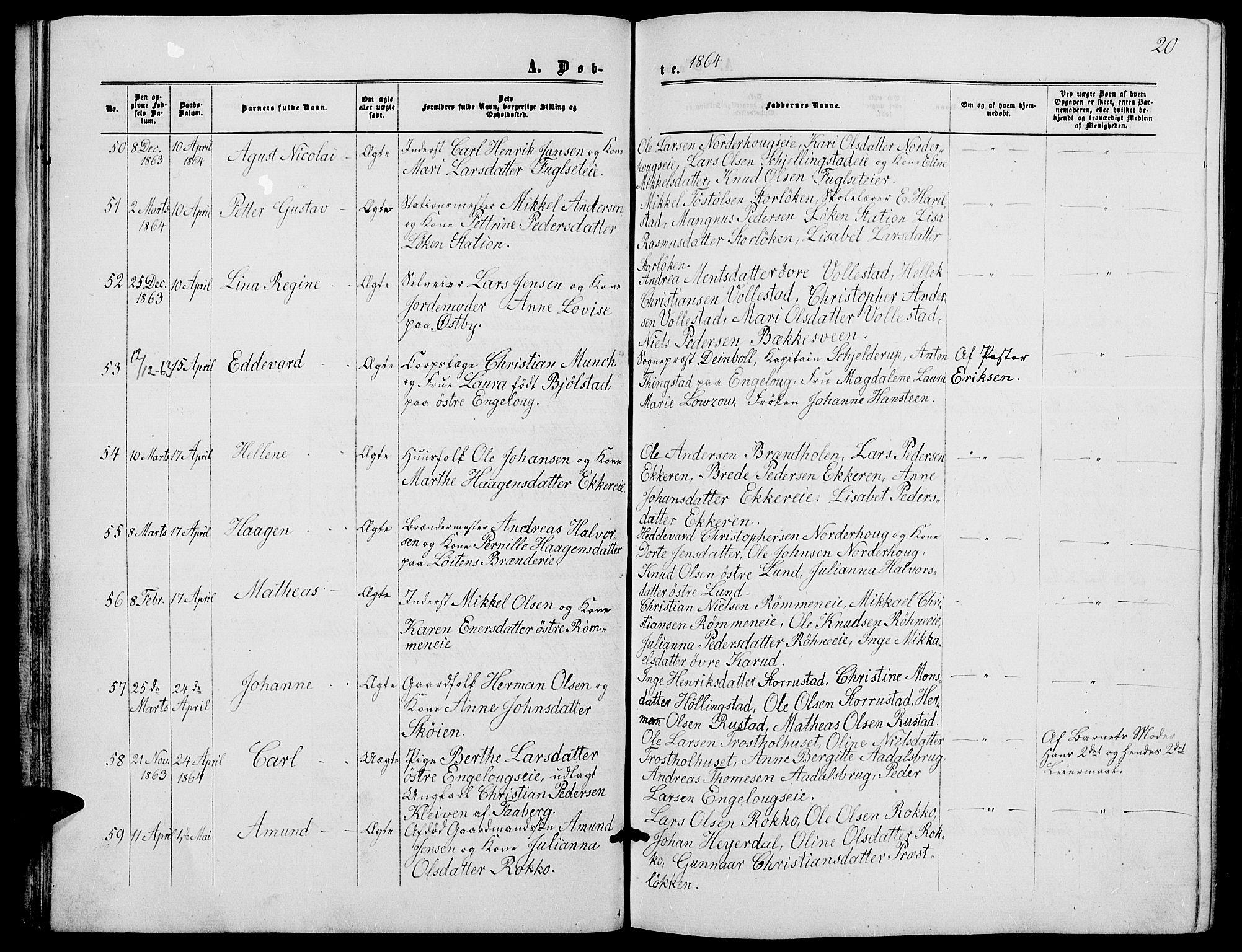 SAH, Løten prestekontor, L/La/L0004: Klokkerbok nr. 4, 1863-1877, s. 20