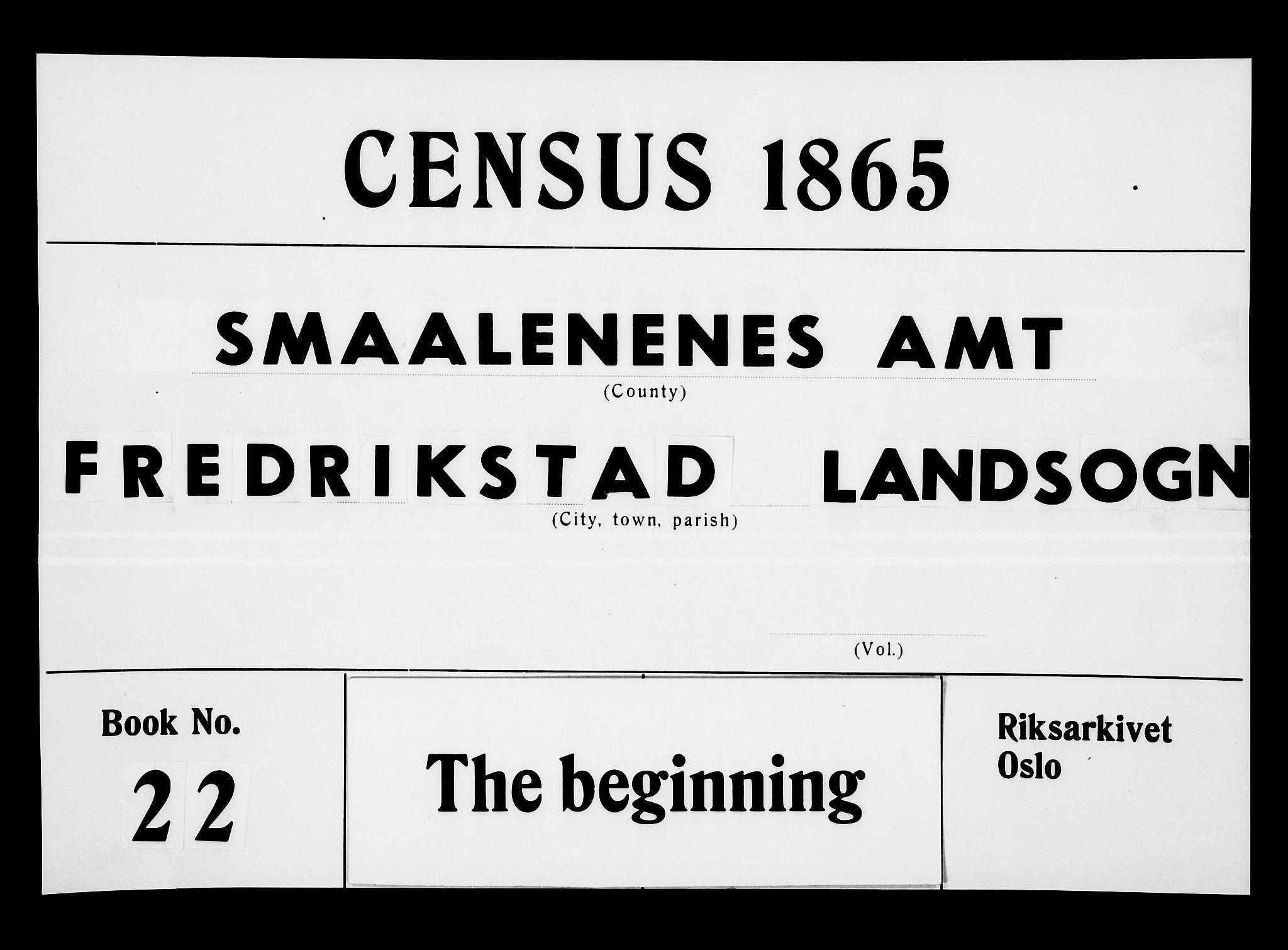 RA, Folketelling 1865 for 0132L Fredrikstad prestegjeld, Glemmen sokn, 1865, s. 1