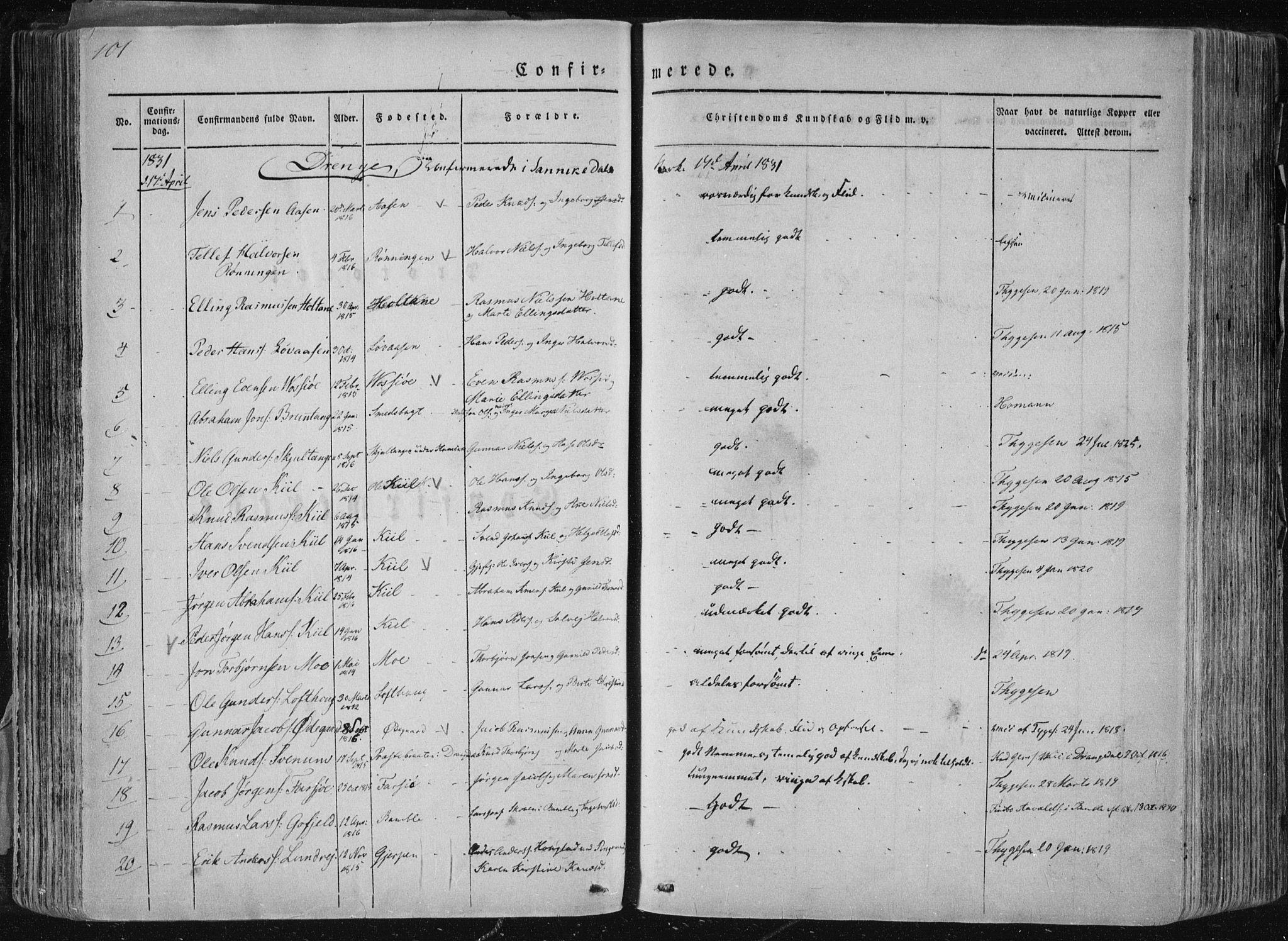 SAKO, Sannidal kirkebøker, F/Fa/L0007: Ministerialbok nr. 7, 1831-1854, s. 101
