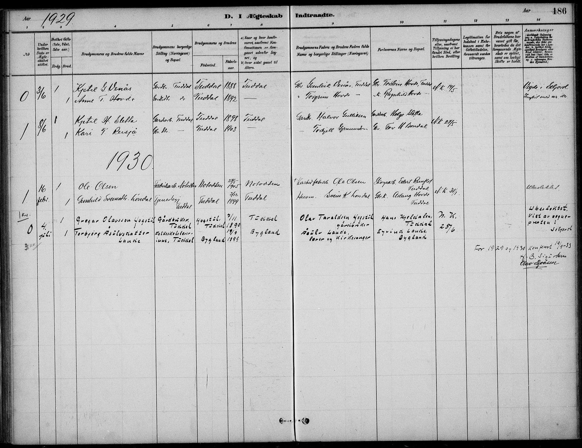 SAKO, Hjartdal kirkebøker, F/Fc/L0002: Ministerialbok nr. III 2, 1880-1936, s. 186
