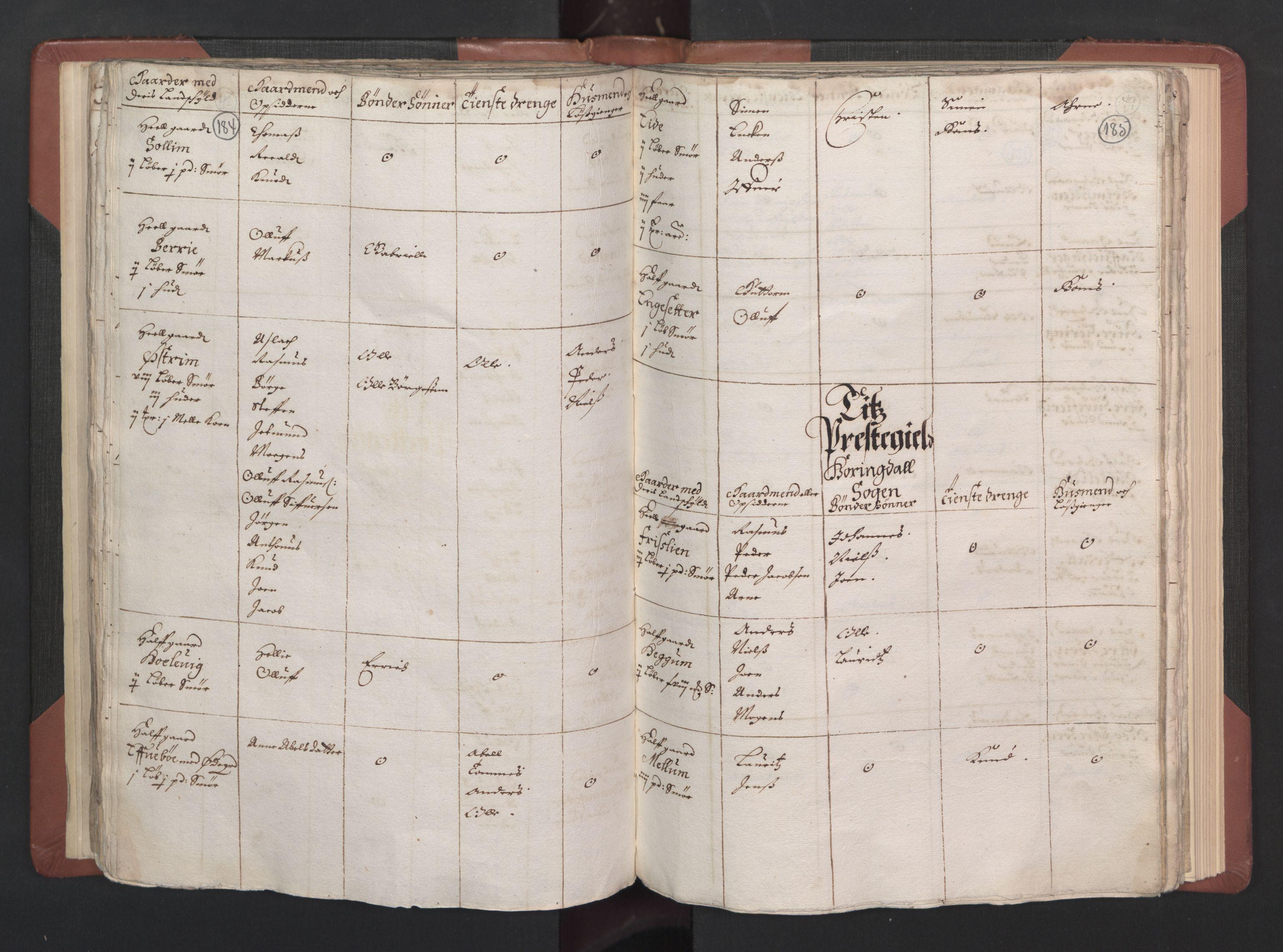 RA, Fogdenes og sorenskrivernes manntall 1664-1666, nr. 15: Nordfjord fogderi og Sunnfjord fogderi, 1664, s. 184-185
