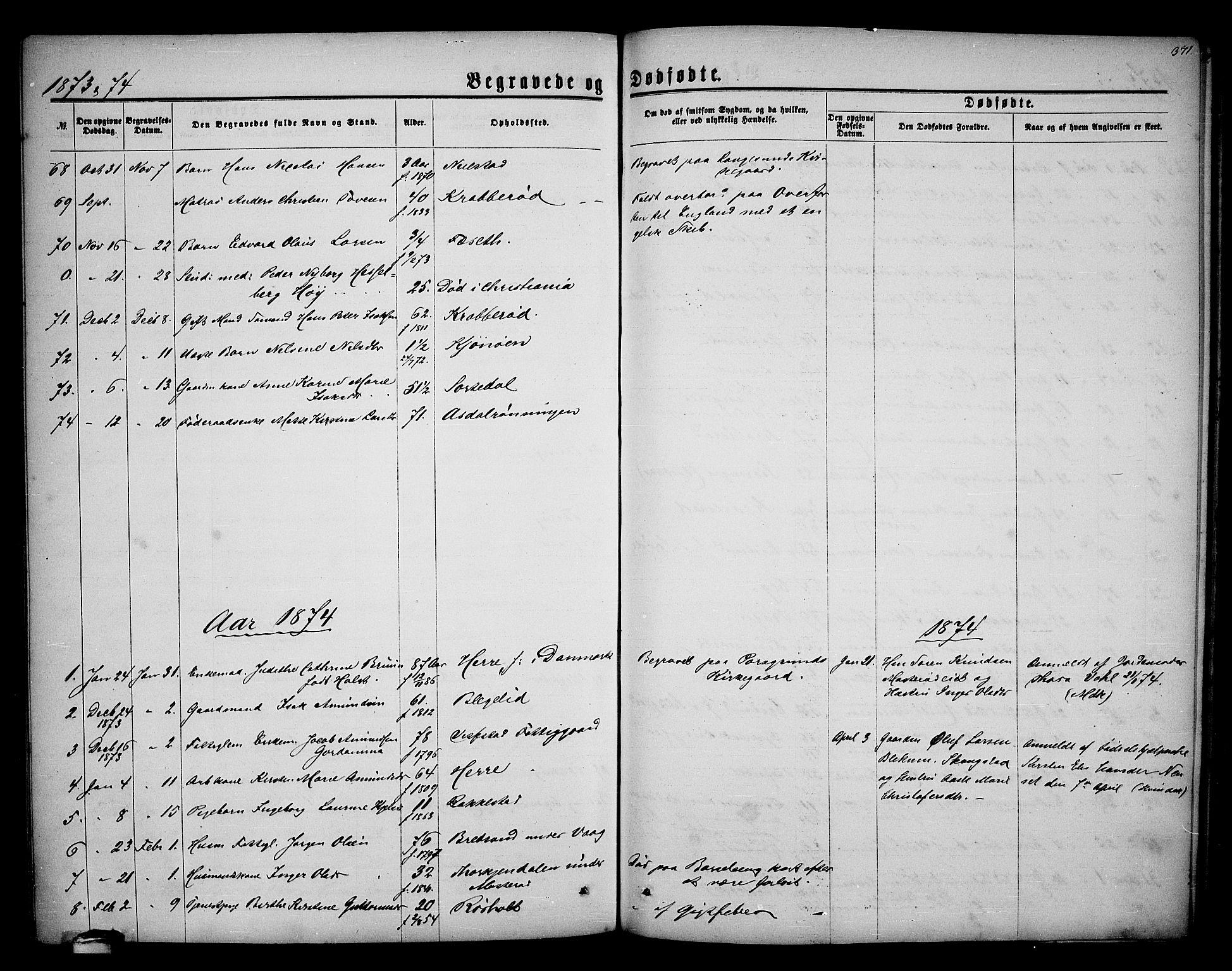 SAKO, Bamble kirkebøker, G/Ga/L0006: Klokkerbok nr. I 6, 1860-1876, s. 371