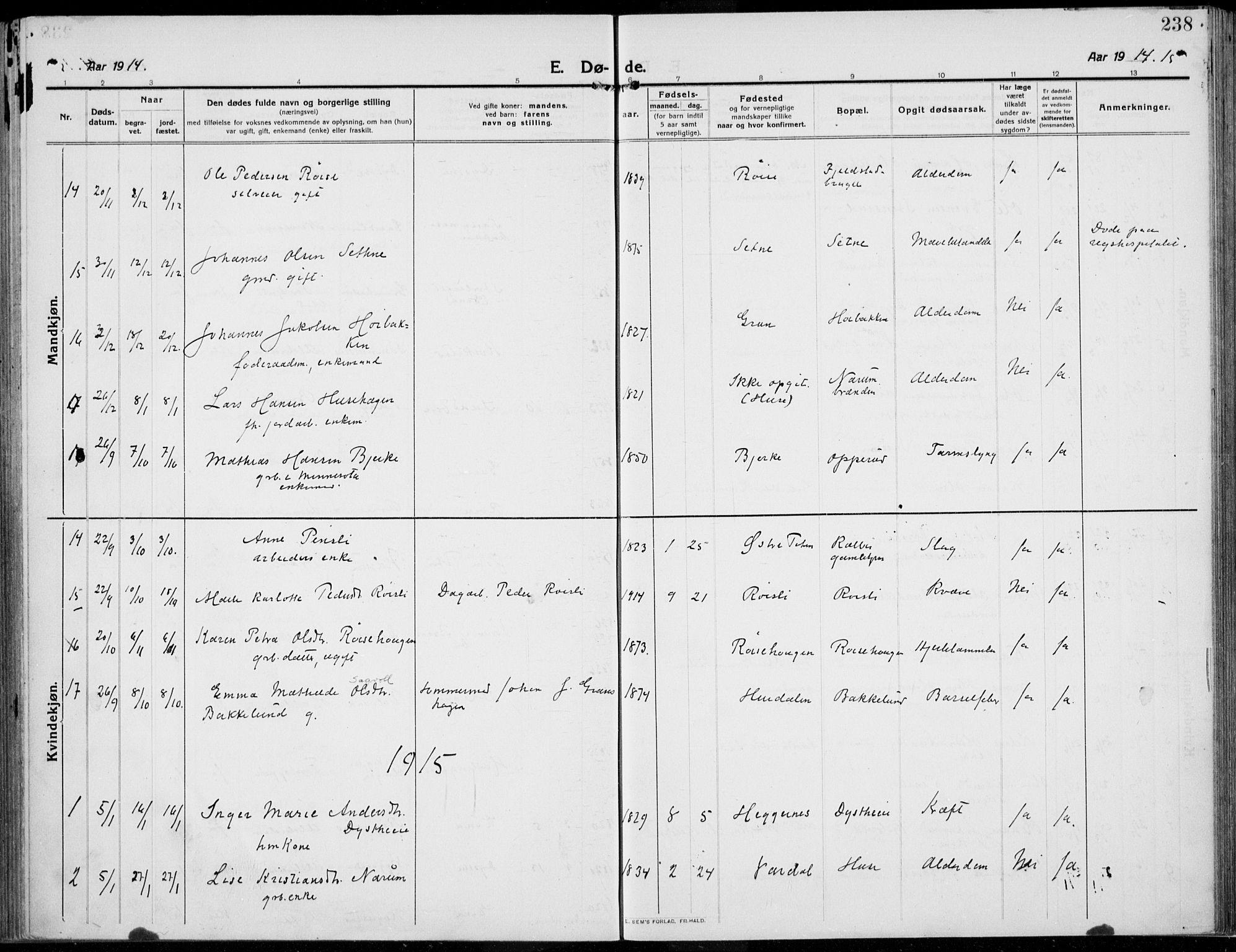 SAH, Kolbu prestekontor, Ministerialbok nr. 2, 1912-1926, s. 238