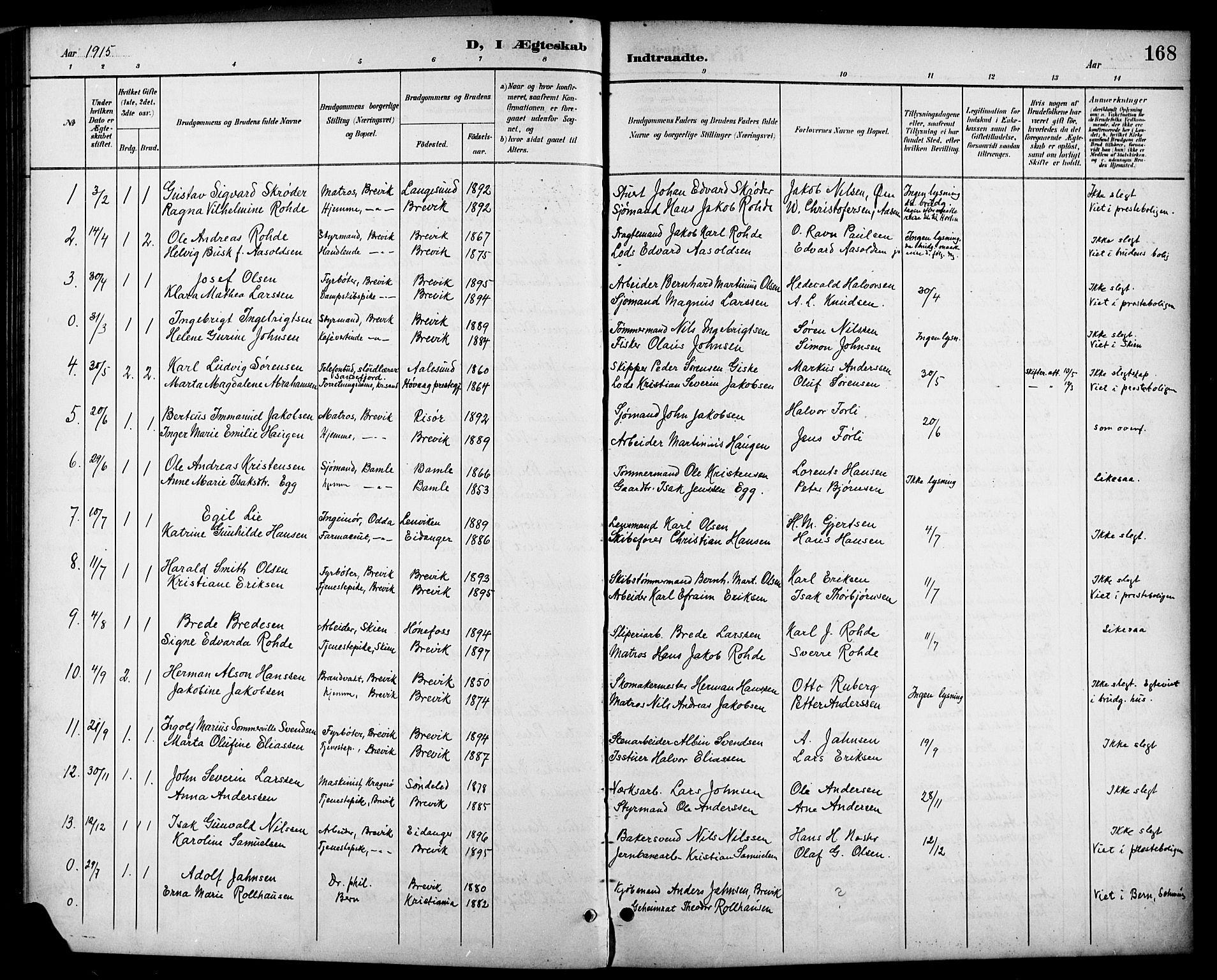 SAKO, Brevik kirkebøker, G/Ga/L0005: Klokkerbok nr. 5, 1901-1924, s. 168