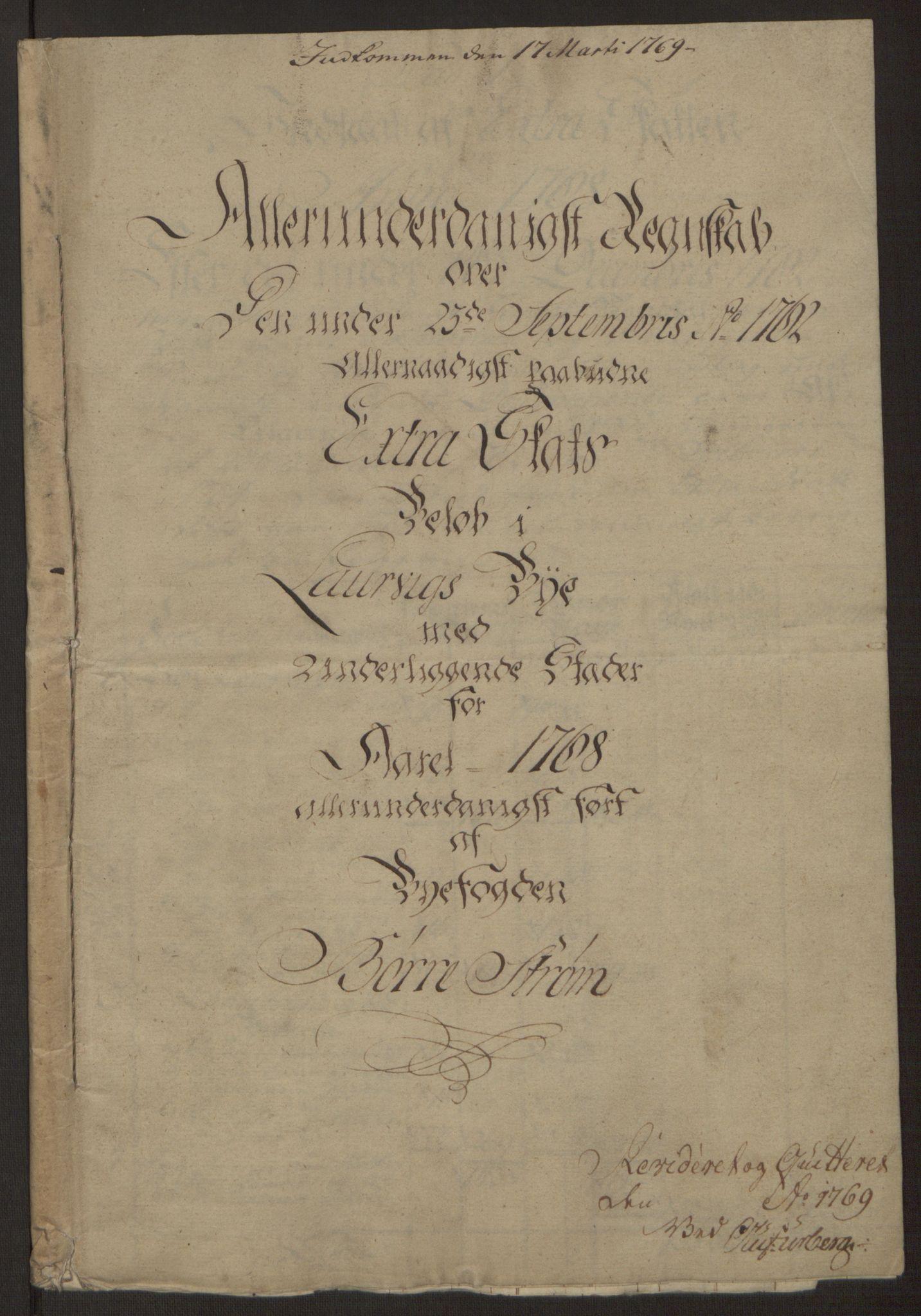 RA, Rentekammeret inntil 1814, Reviderte regnskaper, Byregnskaper, R/Ri/L0183: [I4] Kontribusjonsregnskap, 1762-1768, s. 444