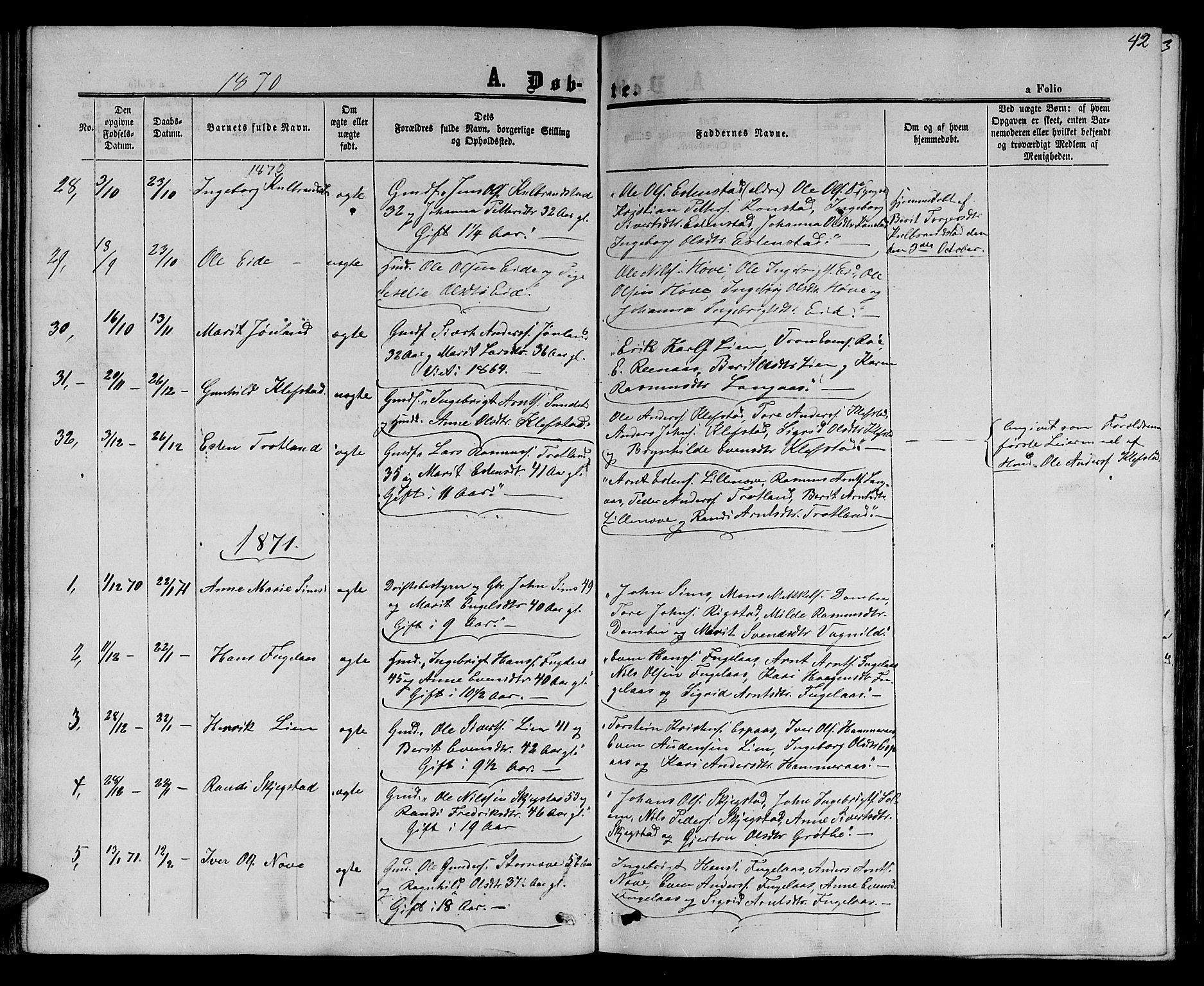 SAT, Ministerialprotokoller, klokkerbøker og fødselsregistre - Sør-Trøndelag, 694/L1131: Klokkerbok nr. 694C03, 1858-1886, s. 42