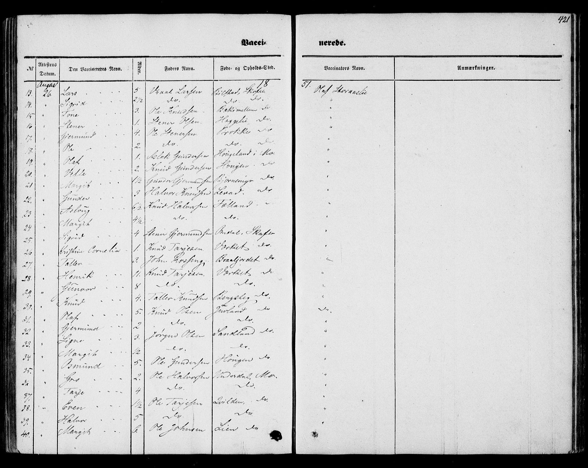 SAKO, Mo kirkebøker, F/Fa/L0005: Ministerialbok nr. I 5, 1844-1864, s. 421