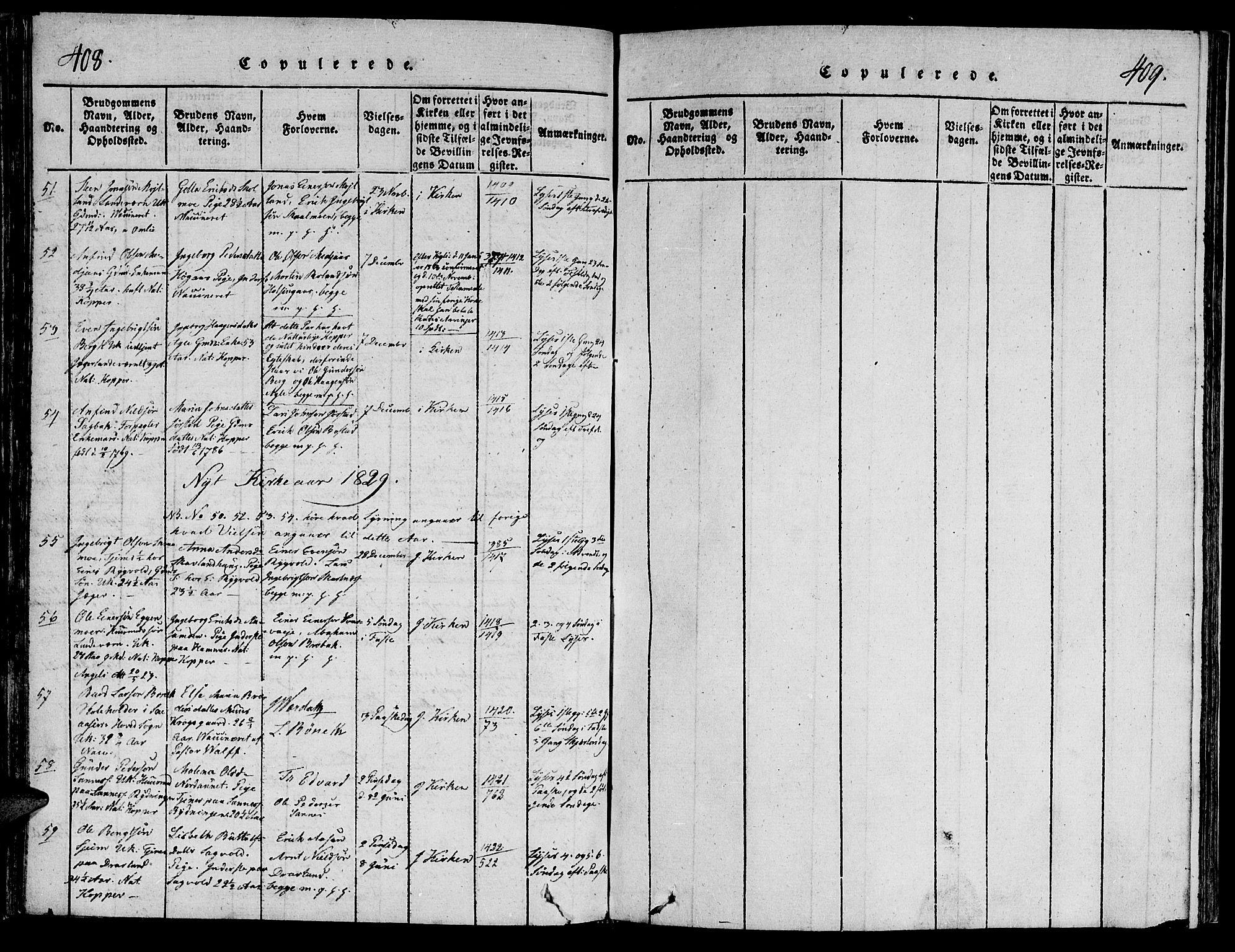 SAT, Ministerialprotokoller, klokkerbøker og fødselsregistre - Nord-Trøndelag, 749/L0479: Klokkerbok nr. 749C01, 1817-1829, s. 408-409