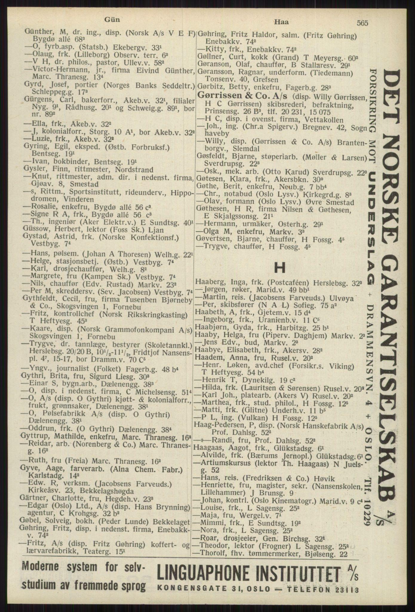 RA, Oslo adressebok (publikasjon)*, 1939, s. 565