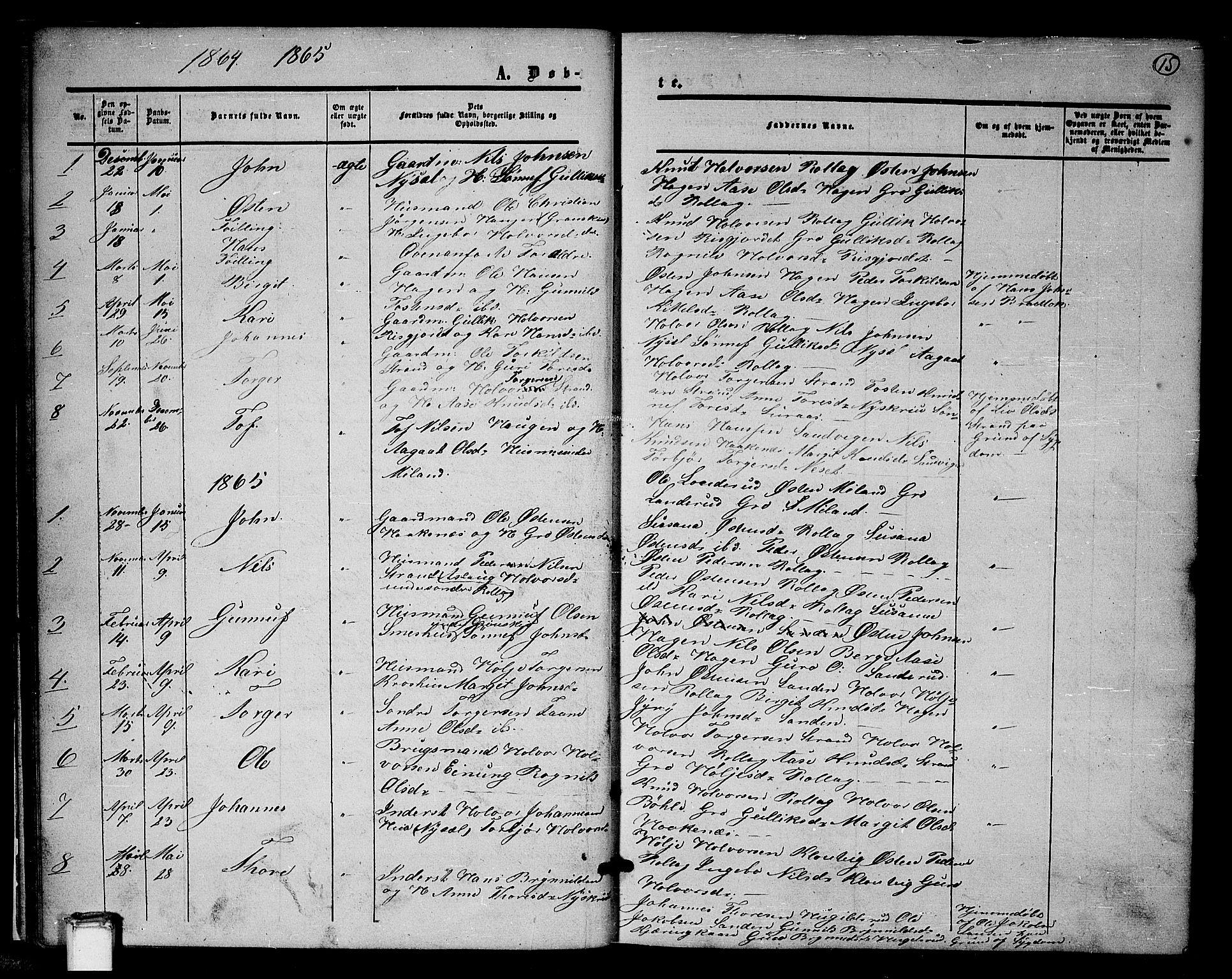 SAKO, Tinn kirkebøker, G/Gb/L0002: Klokkerbok nr. II 2, 1851-1886, s. 15