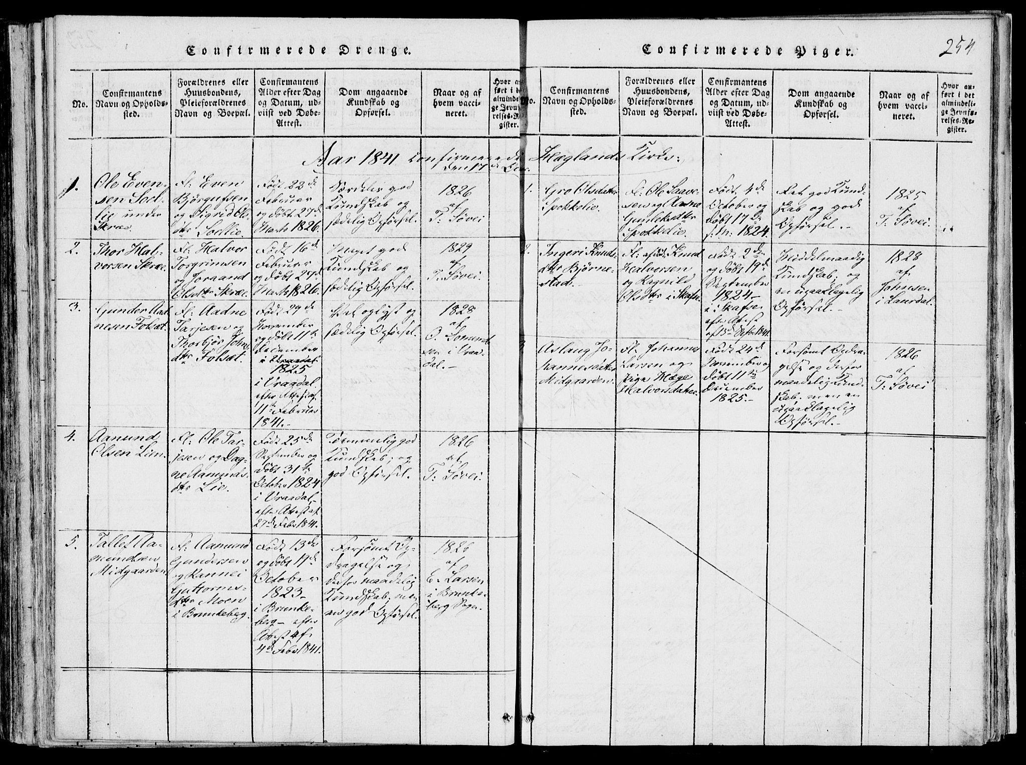 SAKO, Fyresdal kirkebøker, F/Fb/L0001: Ministerialbok nr. II 1, 1815-1854, s. 254