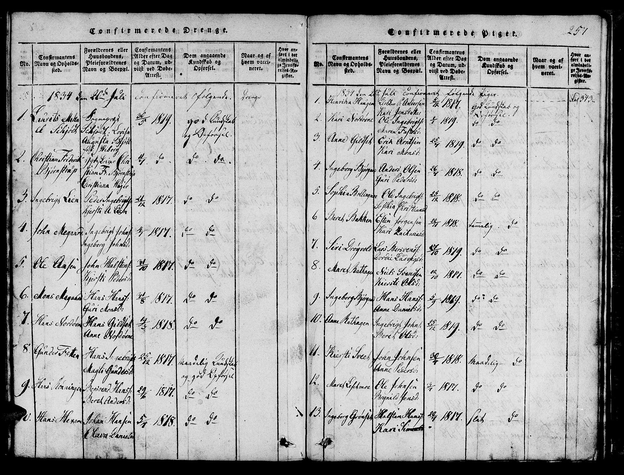 SAT, Ministerialprotokoller, klokkerbøker og fødselsregistre - Sør-Trøndelag, 685/L0976: Klokkerbok nr. 685C01, 1817-1878, s. 257