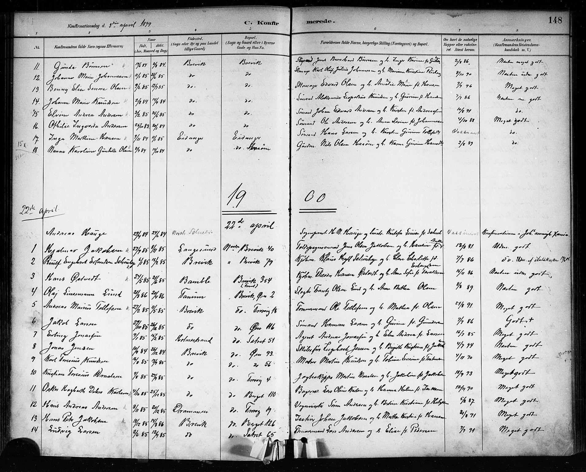 SAKO, Brevik kirkebøker, F/Fa/L0007: Ministerialbok nr. 7, 1882-1900, s. 148