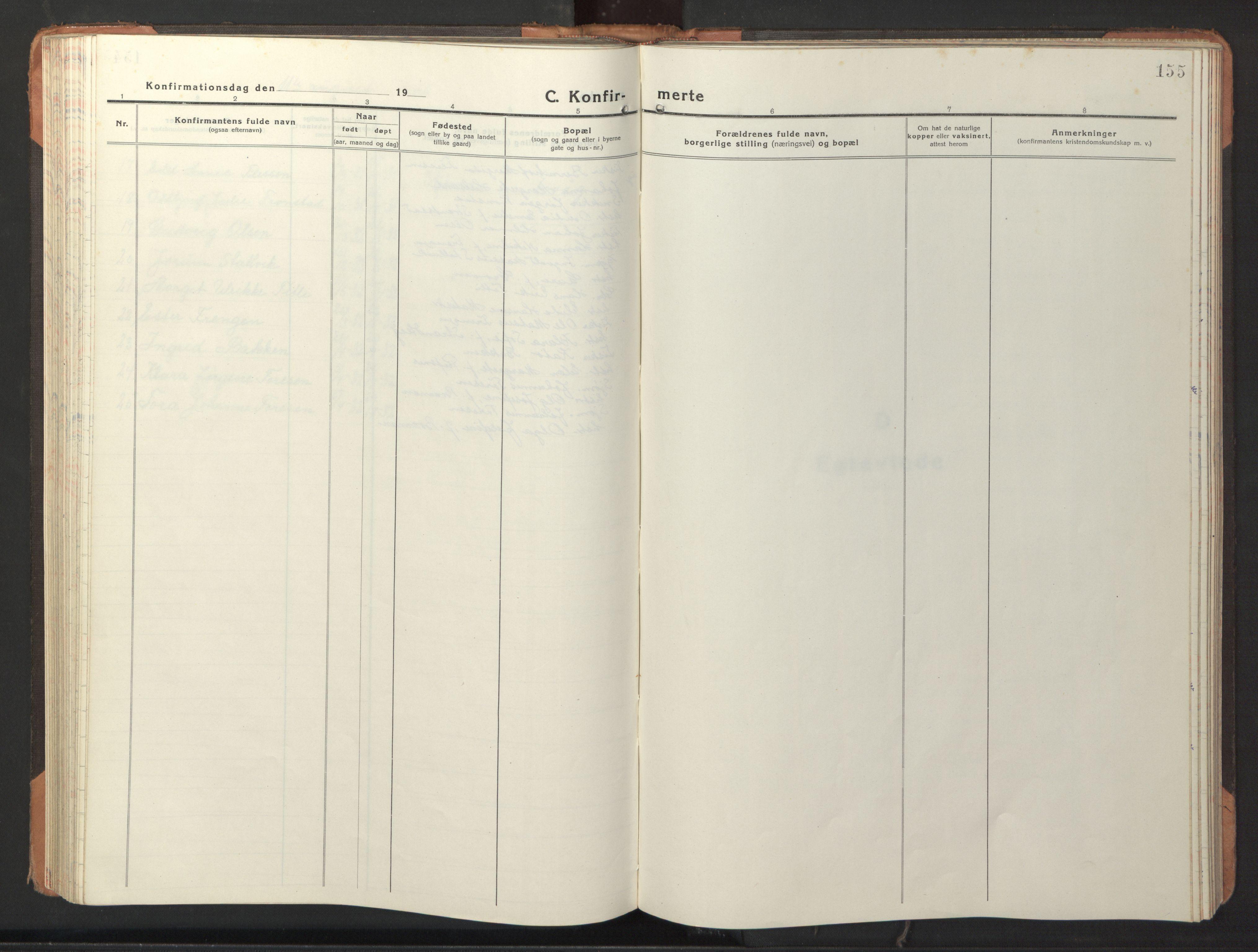 SAT, Ministerialprotokoller, klokkerbøker og fødselsregistre - Sør-Trøndelag, 653/L0658: Klokkerbok nr. 653C02, 1919-1947, s. 155
