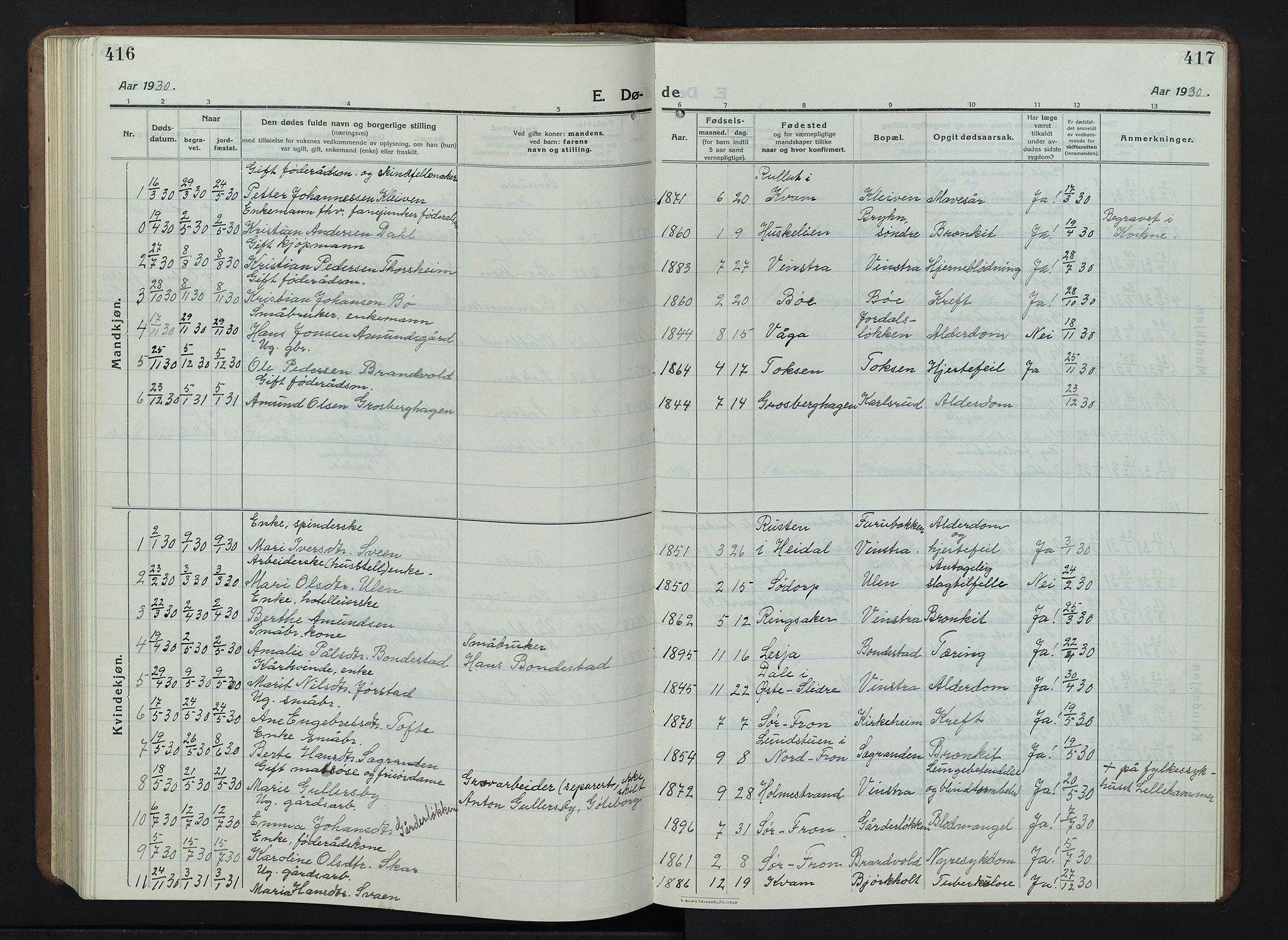 SAH, Nord-Fron prestekontor, Klokkerbok nr. 7, 1915-1946, s. 416-417