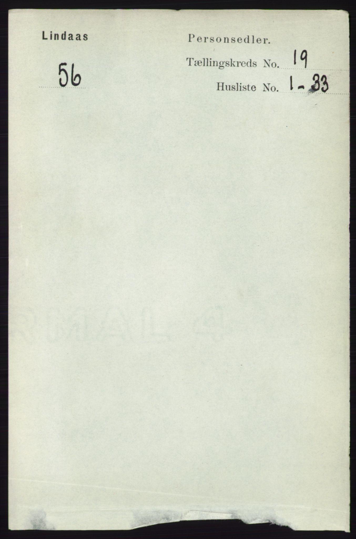 RA, Folketelling 1891 for 1263 Lindås herred, 1891, s. 6930