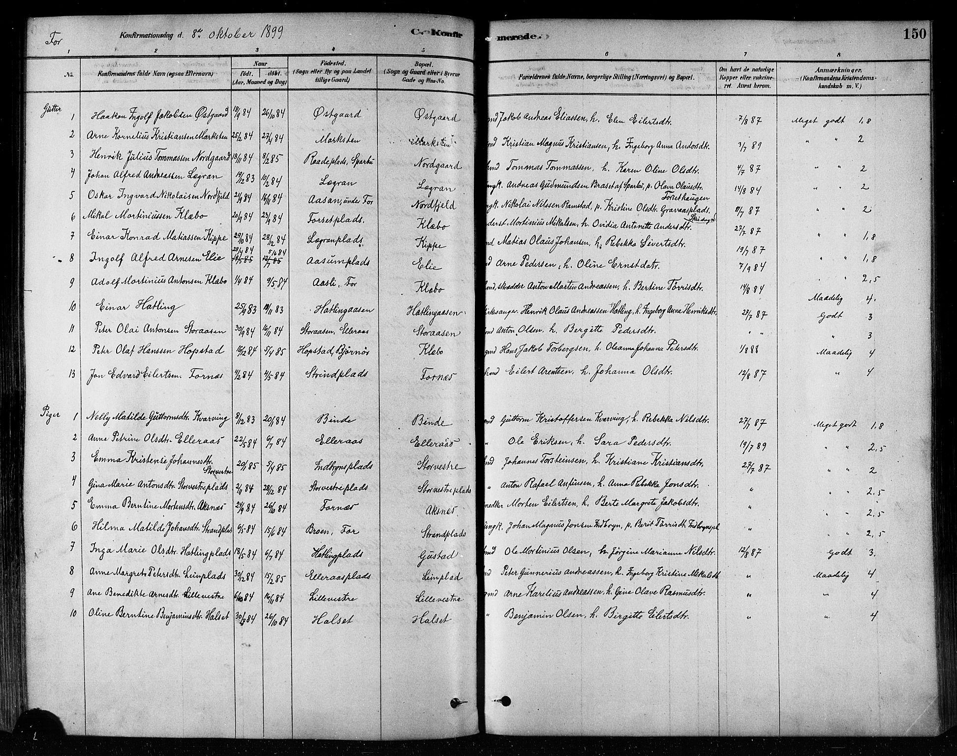 SAT, Ministerialprotokoller, klokkerbøker og fødselsregistre - Nord-Trøndelag, 746/L0448: Ministerialbok nr. 746A07 /1, 1878-1900, s. 150