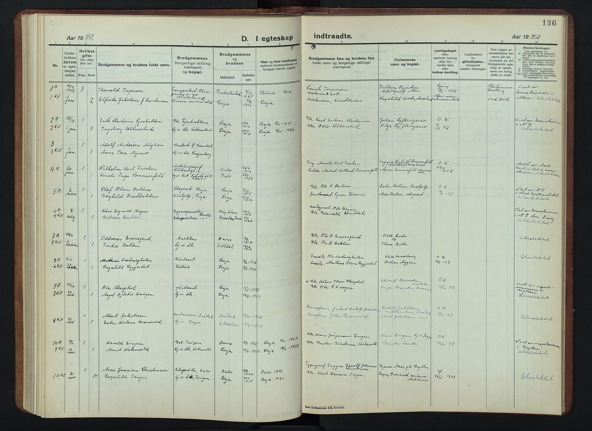 SAH, Lesja prestekontor, Klokkerbok nr. 9, 1924-1947, s. 136
