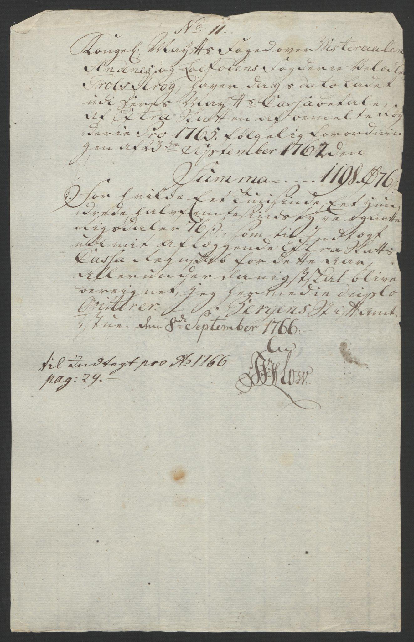 RA, Rentekammeret inntil 1814, Reviderte regnskaper, Fogderegnskap, R67/L4747: Ekstraskatten Vesterålen, Andenes og Lofoten, 1762-1766, s. 464