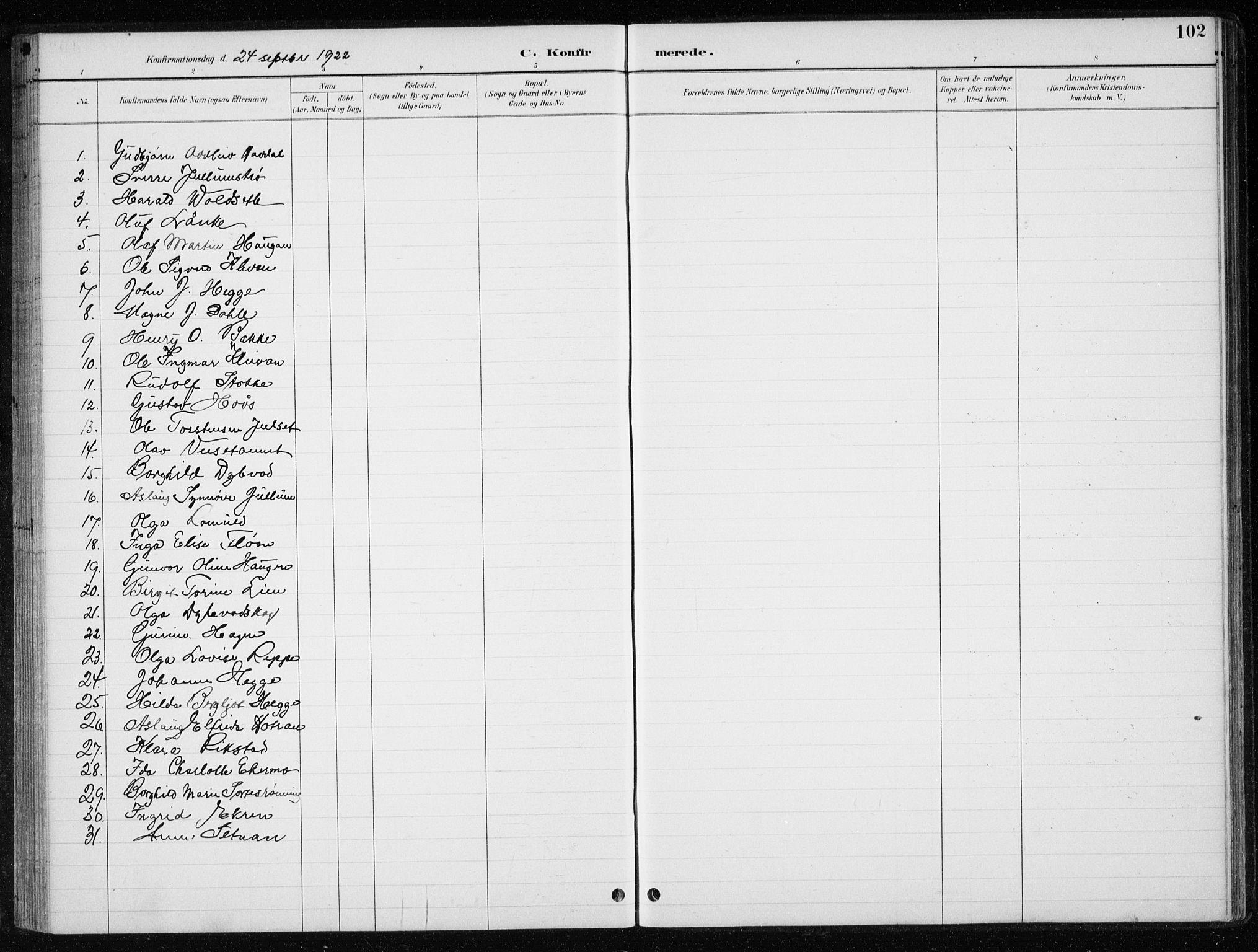 SAT, Ministerialprotokoller, klokkerbøker og fødselsregistre - Nord-Trøndelag, 710/L0096: Klokkerbok nr. 710C01, 1892-1925, s. 102