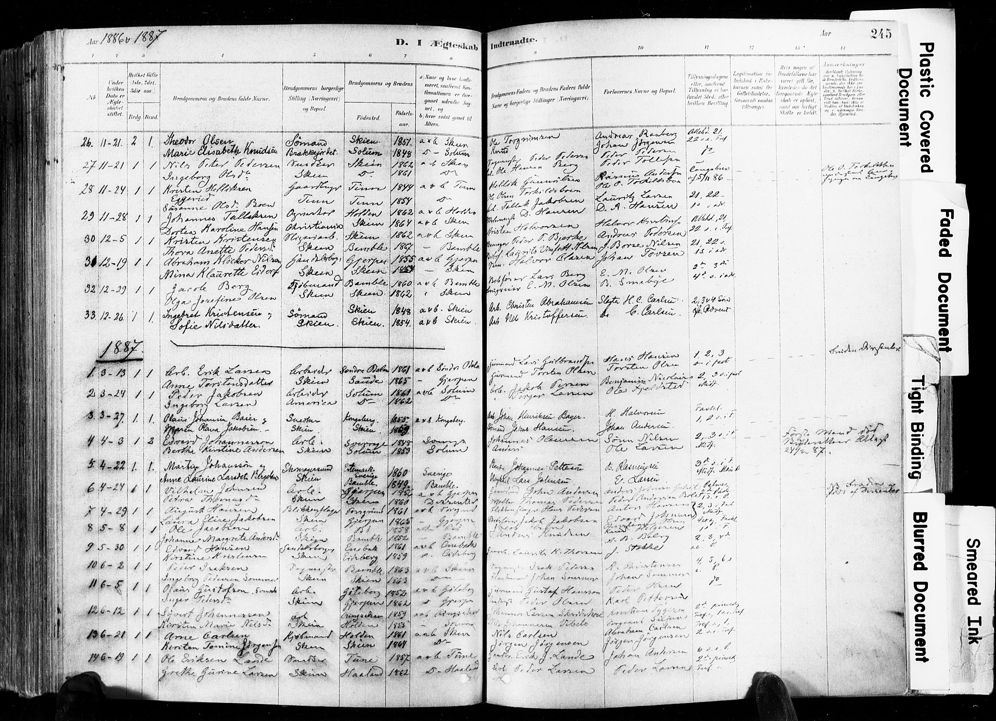 SAKO, Skien kirkebøker, F/Fa/L0009: Ministerialbok nr. 9, 1878-1890, s. 245