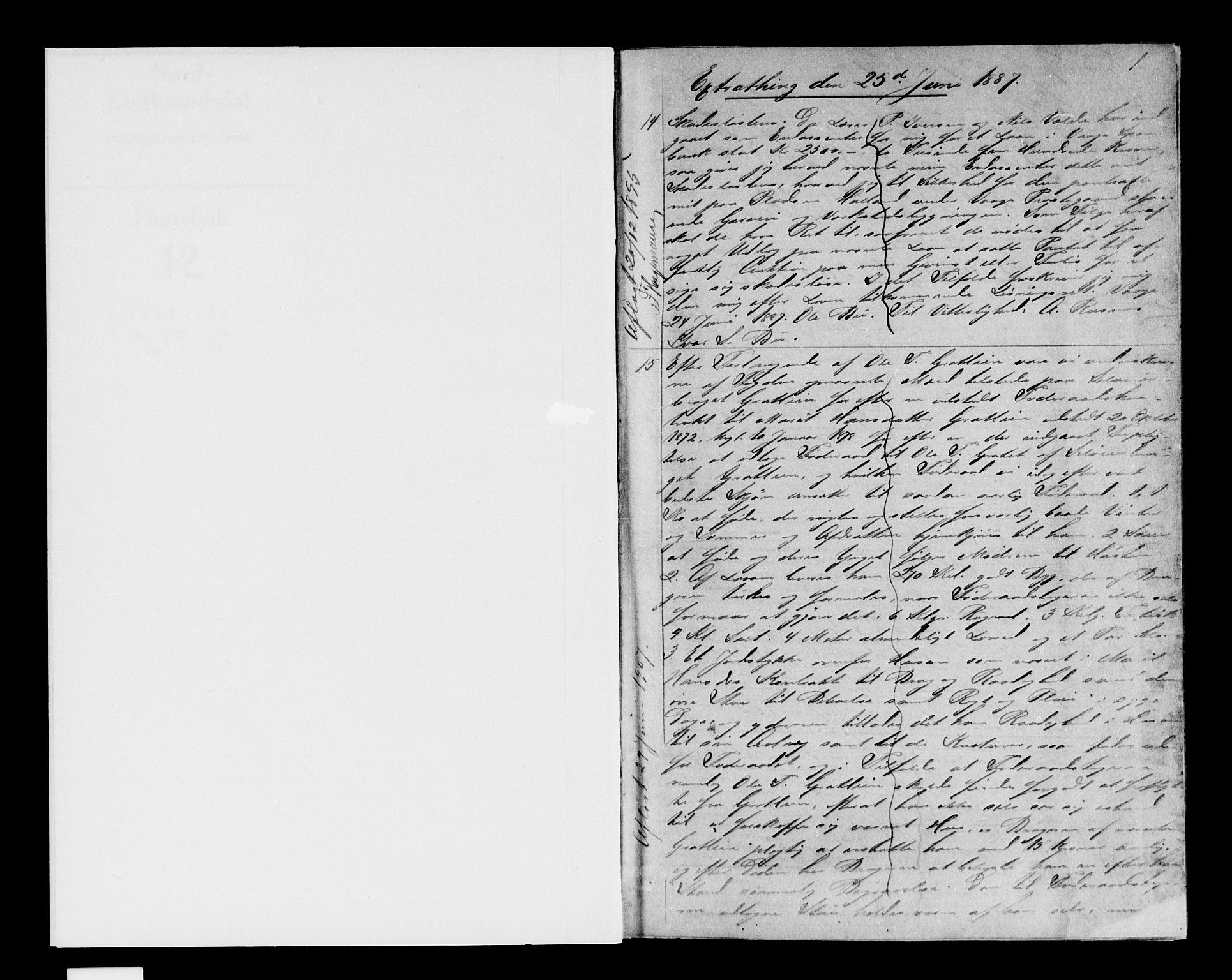 SAH, Nord-Gudbrandsdal tingrett, H/Hb/Hba/L0012: Pantebok nr. 12, 1887-1892, s. 1