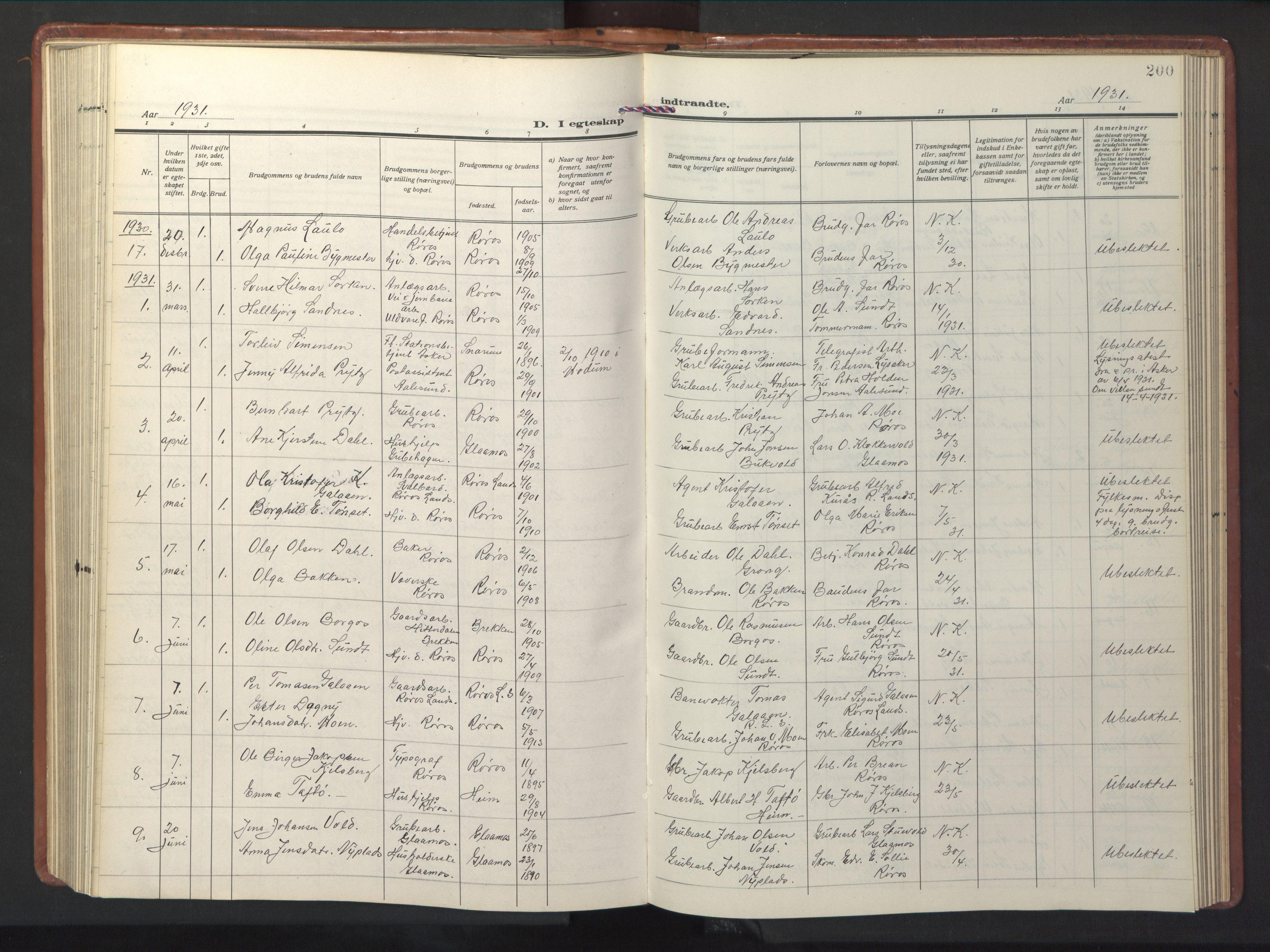 SAT, Ministerialprotokoller, klokkerbøker og fødselsregistre - Sør-Trøndelag, 681/L0943: Klokkerbok nr. 681C07, 1926-1954, s. 200