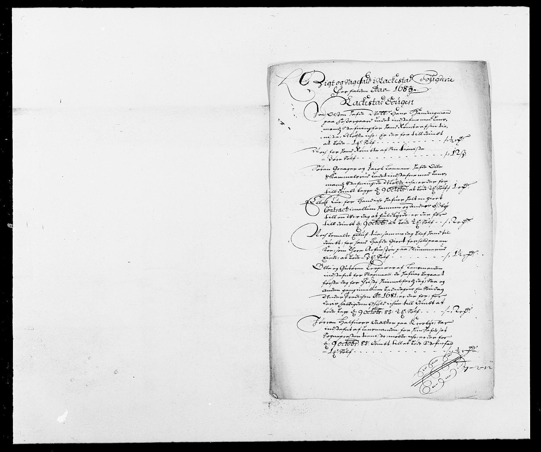 RA, Rentekammeret inntil 1814, Reviderte regnskaper, Fogderegnskap, R05/L0275: Fogderegnskap Rakkestad, 1685-1686, s. 57