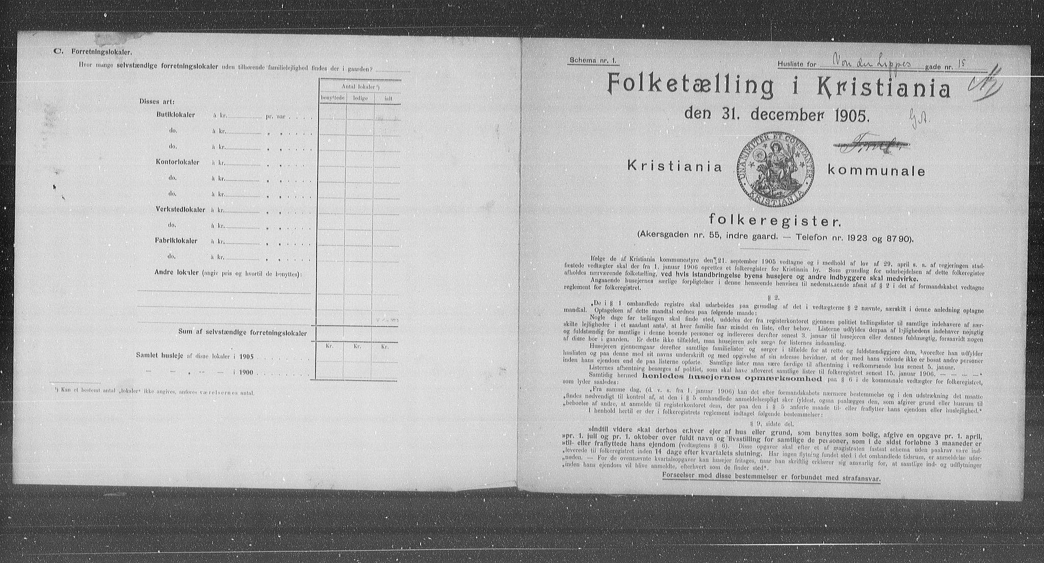 OBA, Kommunal folketelling 1905 for Kristiania kjøpstad, 1905, s. 66153