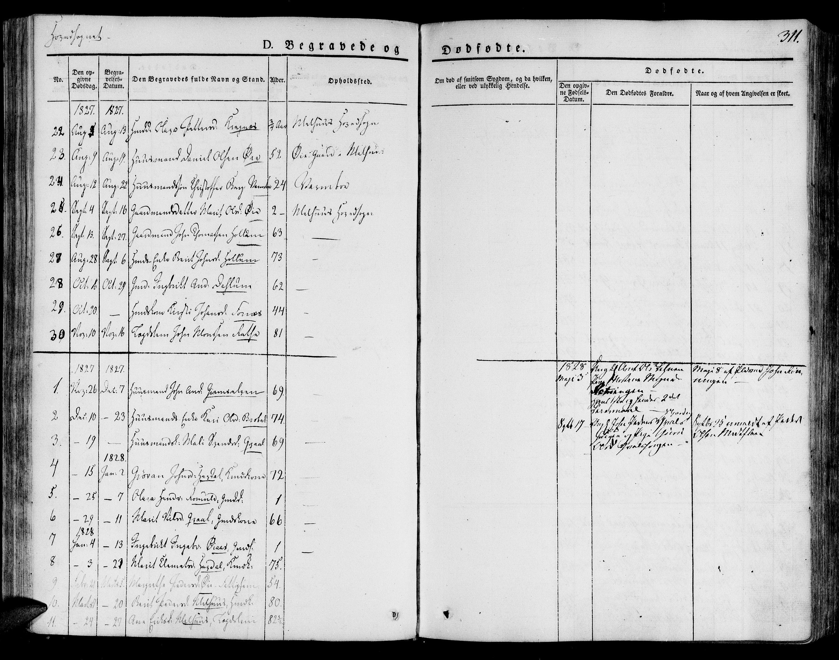 SAT, Ministerialprotokoller, klokkerbøker og fødselsregistre - Sør-Trøndelag, 691/L1070: Ministerialbok nr. 691A05 /1, 1826-1841, s. 311