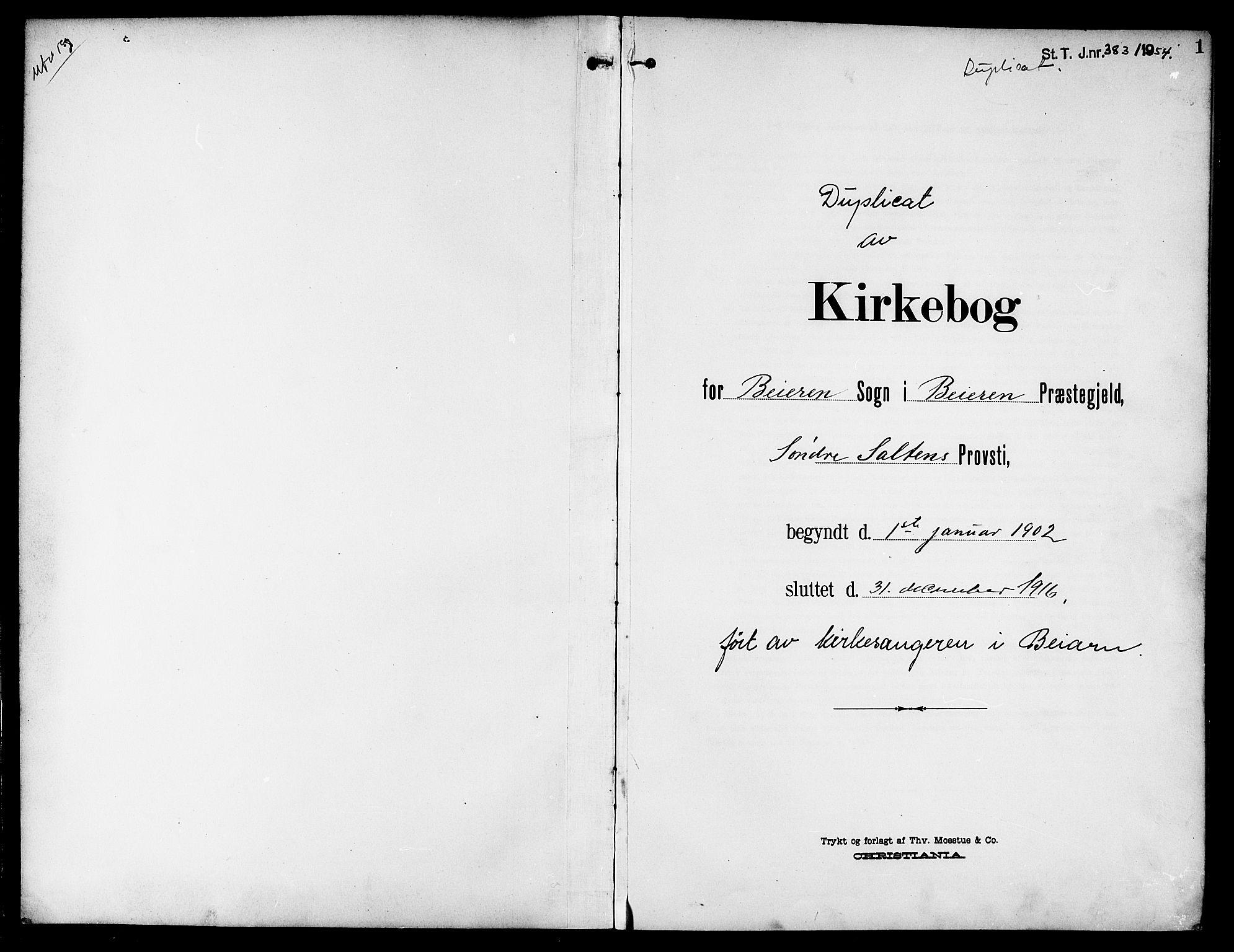 SAT, Ministerialprotokoller, klokkerbøker og fødselsregistre - Nordland, 846/L0647: Klokkerbok nr. 846C05, 1902-1916, s. 1