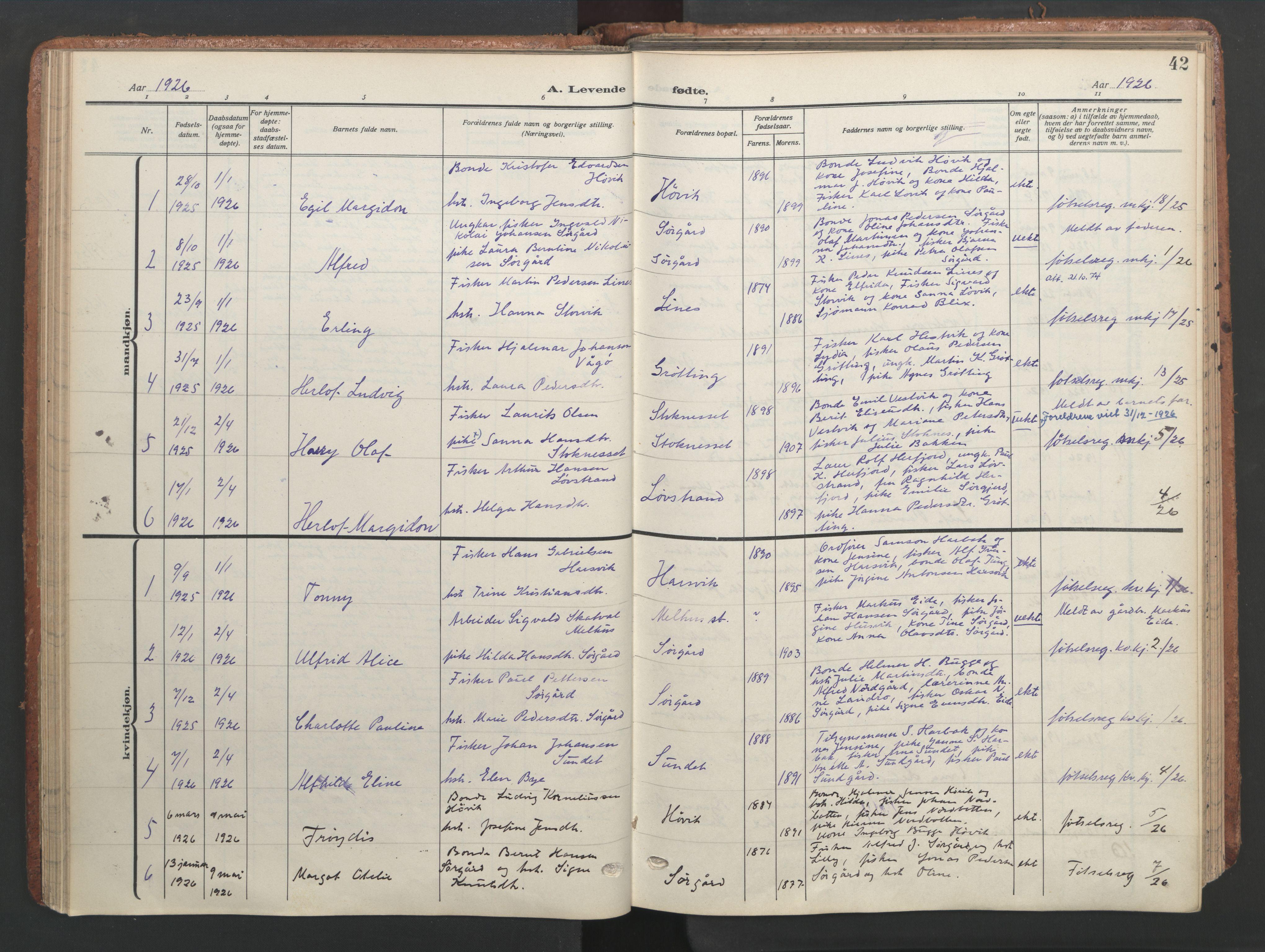 SAT, Ministerialprotokoller, klokkerbøker og fødselsregistre - Sør-Trøndelag, 656/L0694: Ministerialbok nr. 656A03, 1914-1931, s. 42