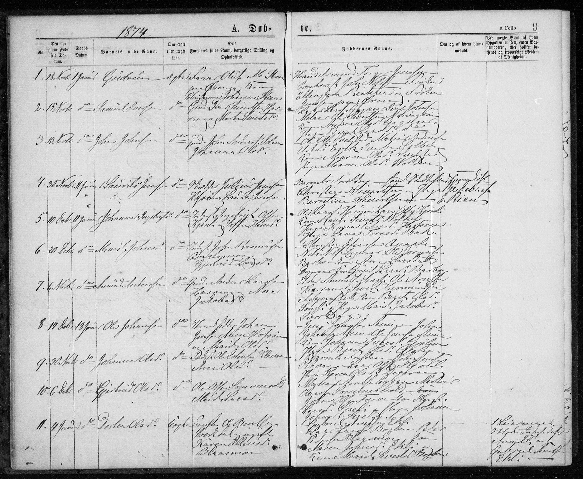 SAT, Ministerialprotokoller, klokkerbøker og fødselsregistre - Sør-Trøndelag, 668/L0817: Klokkerbok nr. 668C06, 1873-1884, s. 9