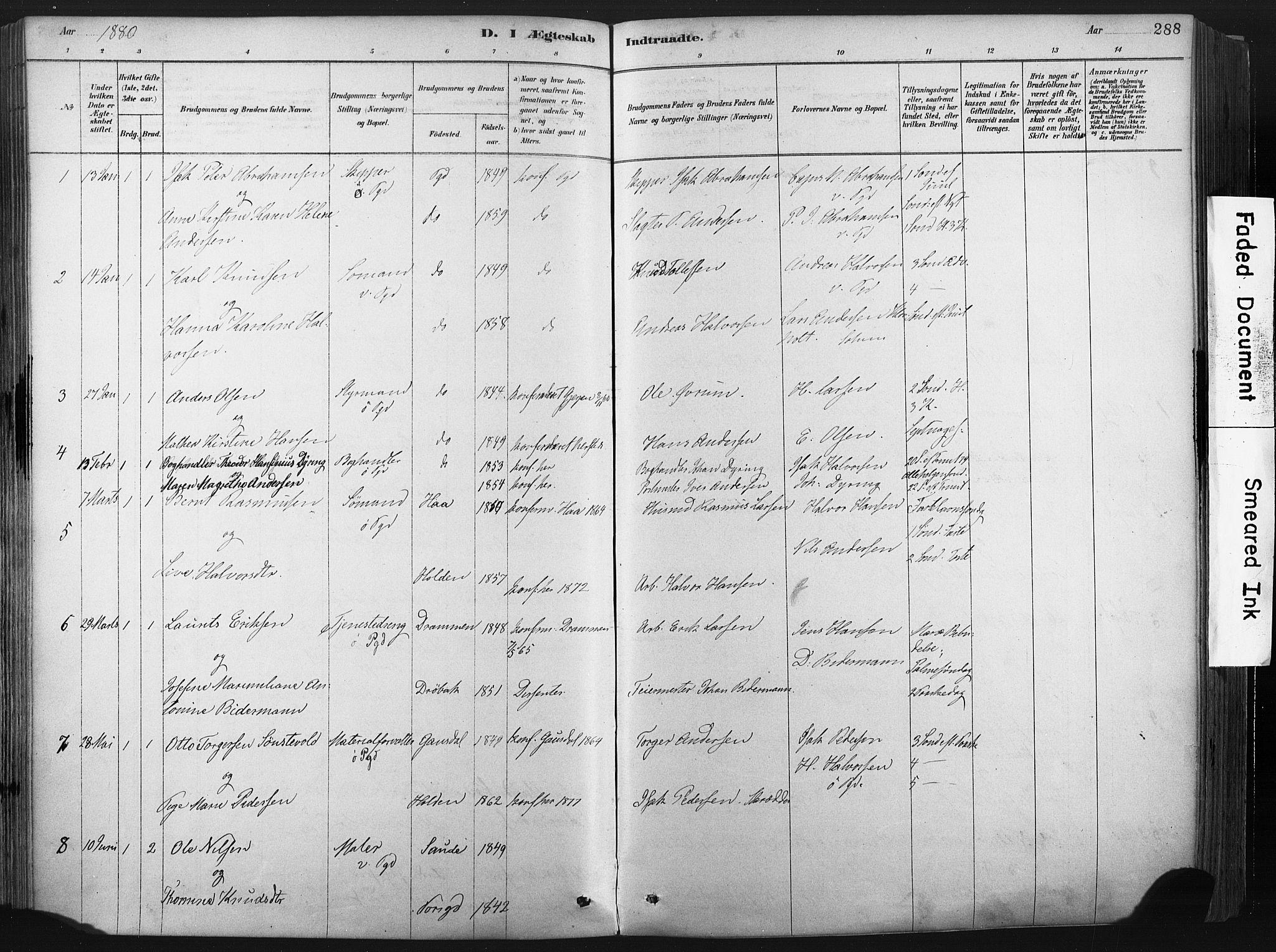 SAKO, Porsgrunn kirkebøker , F/Fa/L0008: Ministerialbok nr. 8, 1878-1895, s. 288